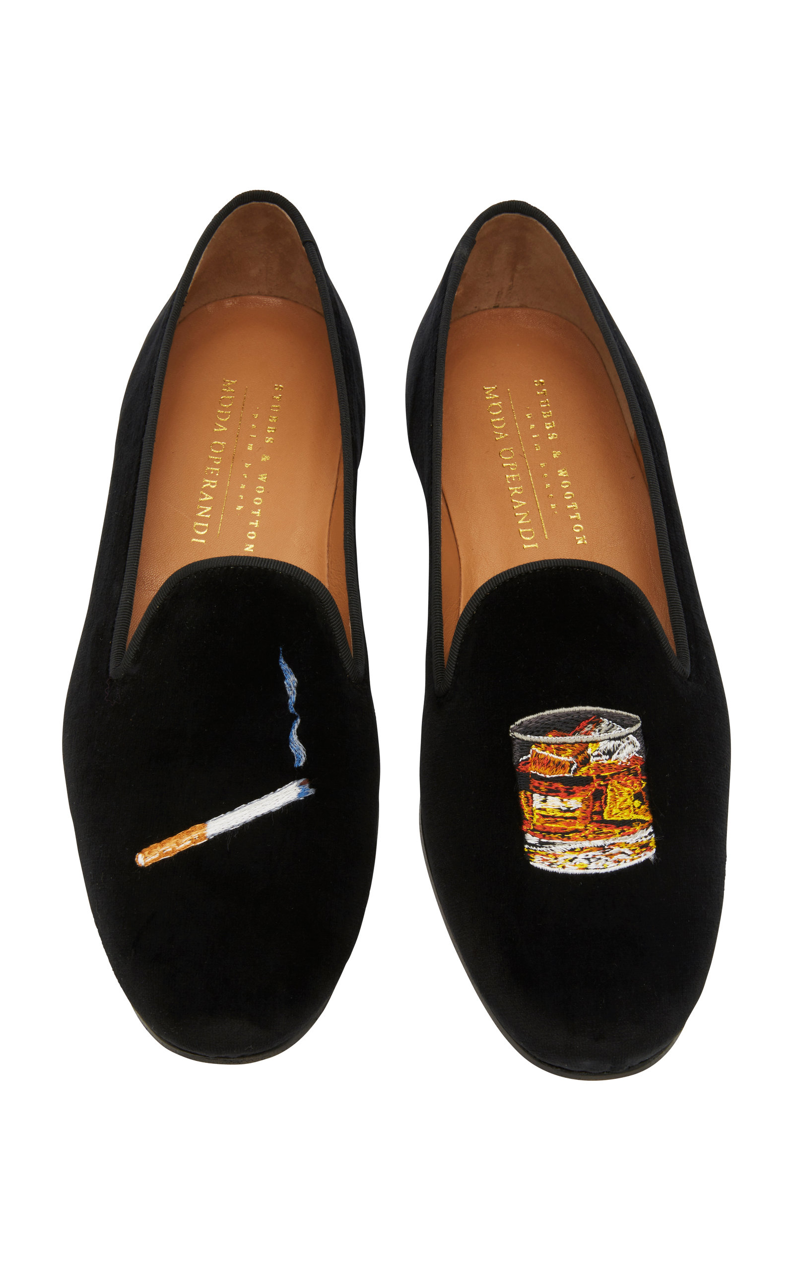 STUBBS & WOOTTON Exclusive Cigarette And Scotch Velvet Slippers in Black