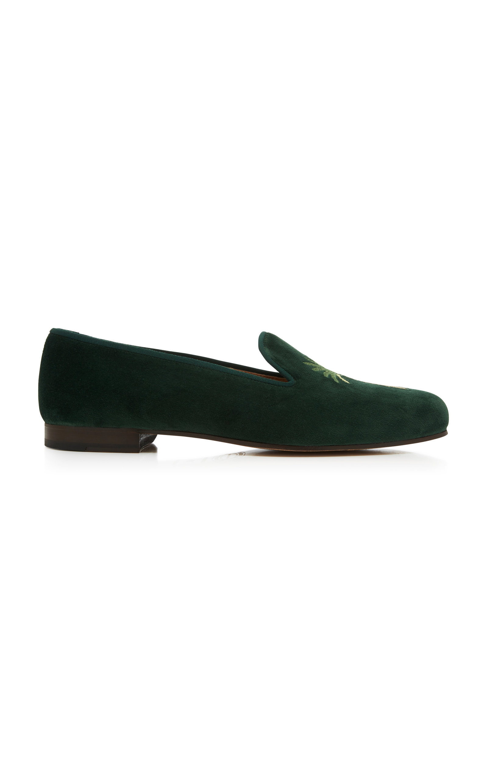 STUBBS & WOOTTON Exclusive Palm Tree Velvet Slippers in Green