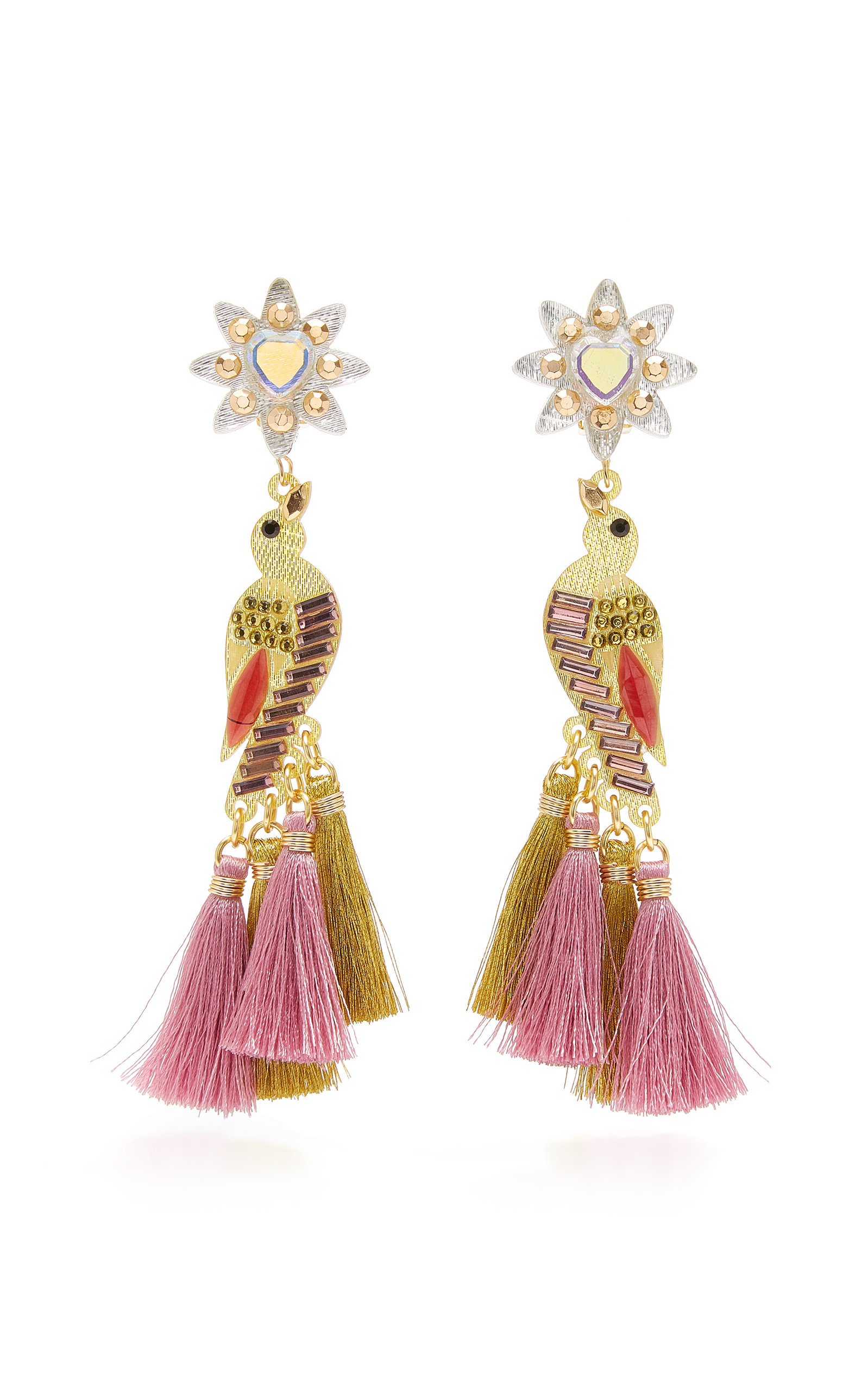 Sabanero Dorado Tasseled Gold-Plated Crystal Earrings Mercedes Salazar eLMLHCIZM