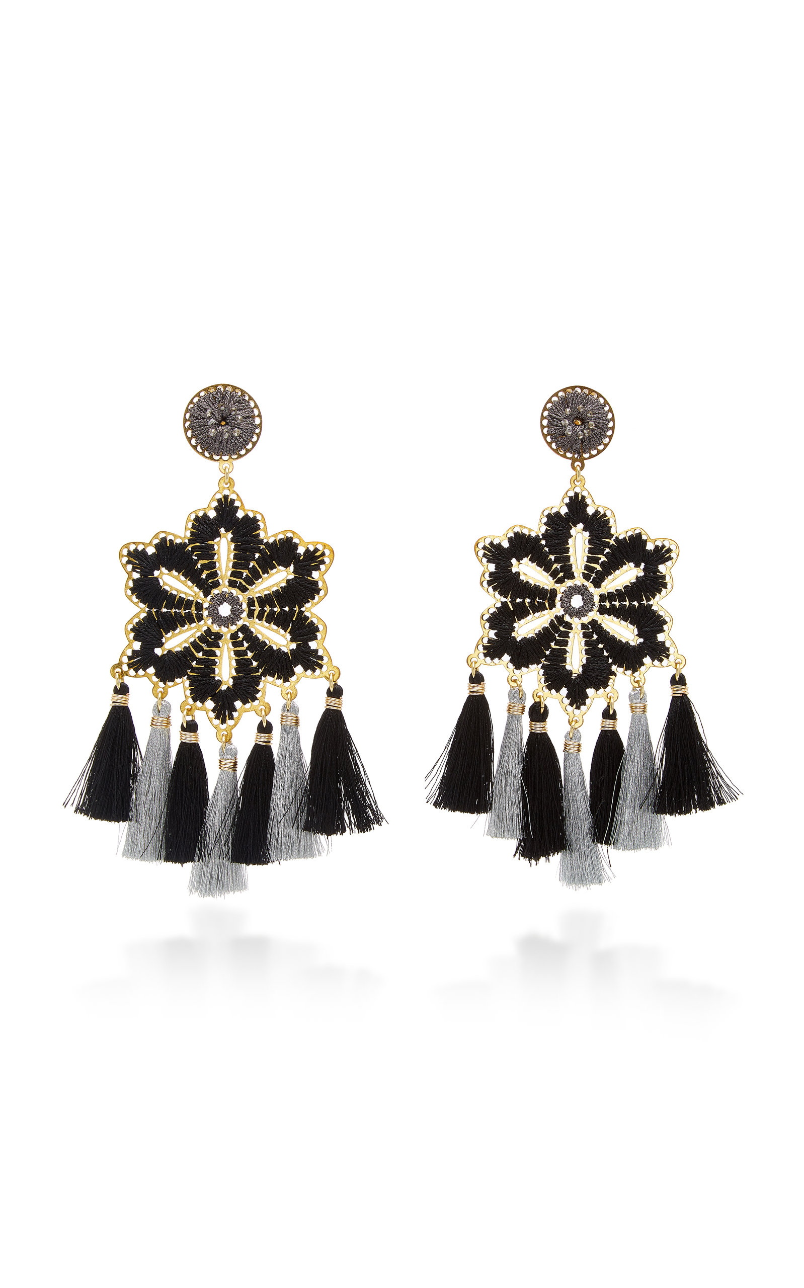 MERCEDES SALAZAR HIBISCUS TASSELED GOLD-PLATED CRYSTAL EARRINGS