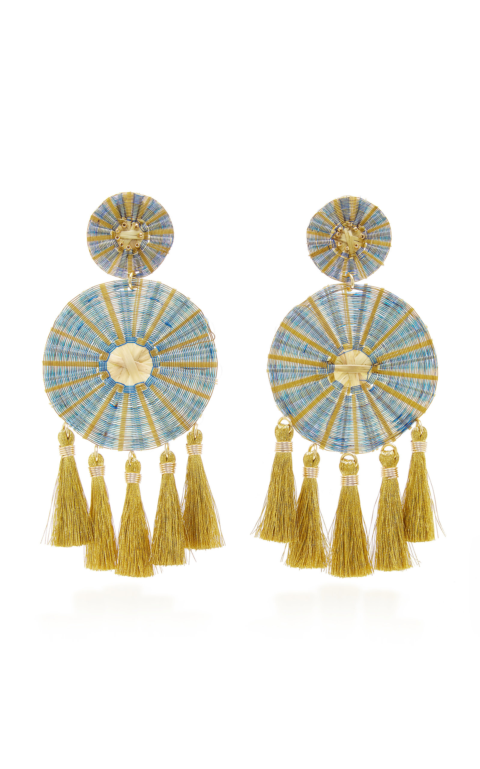 MERCEDES SALAZAR YUI TASSELED GOLD-PLATED EARRINGS