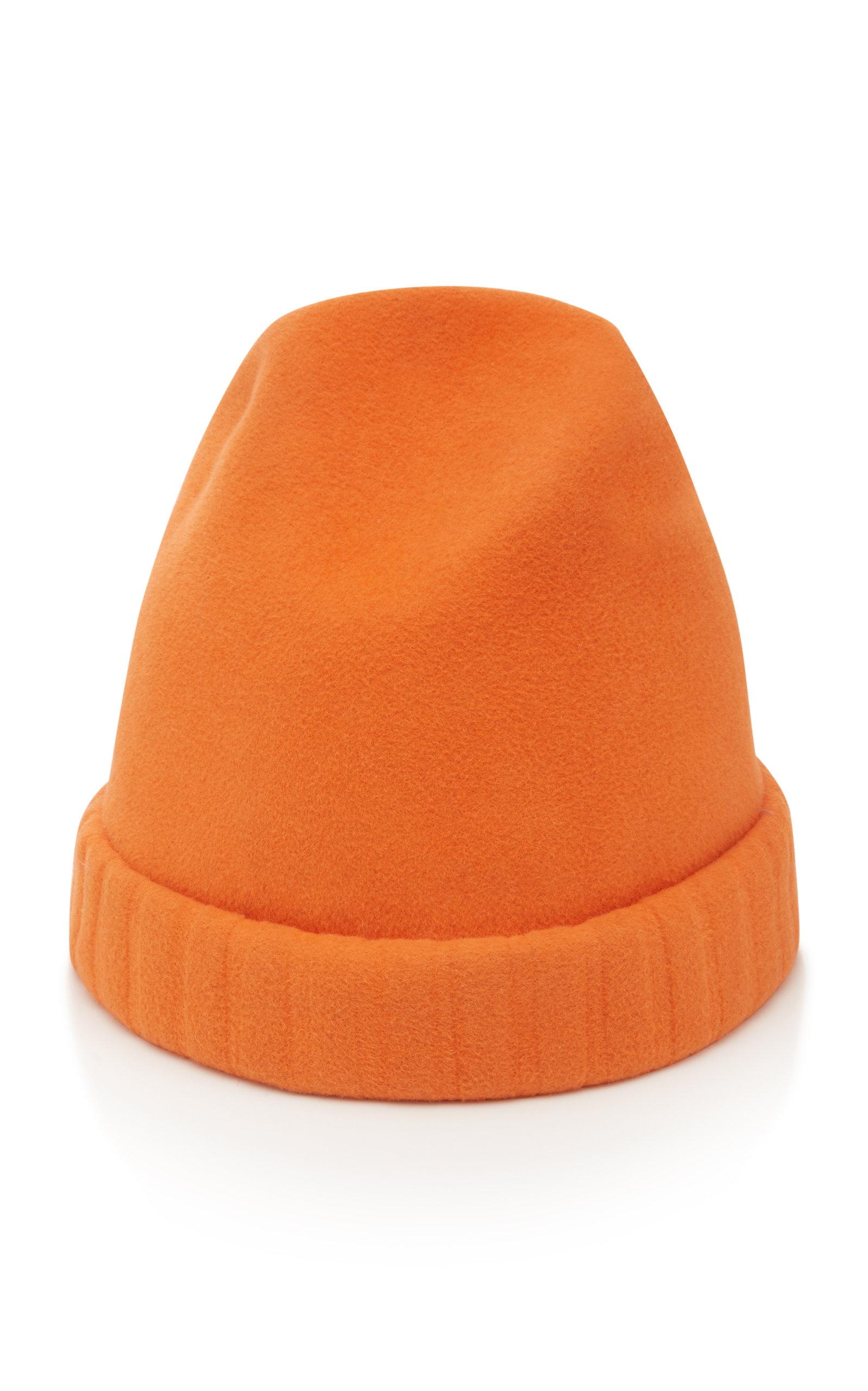 YESTADT MILLINERY Bunnie Wool-Felt Beanie in Orange
