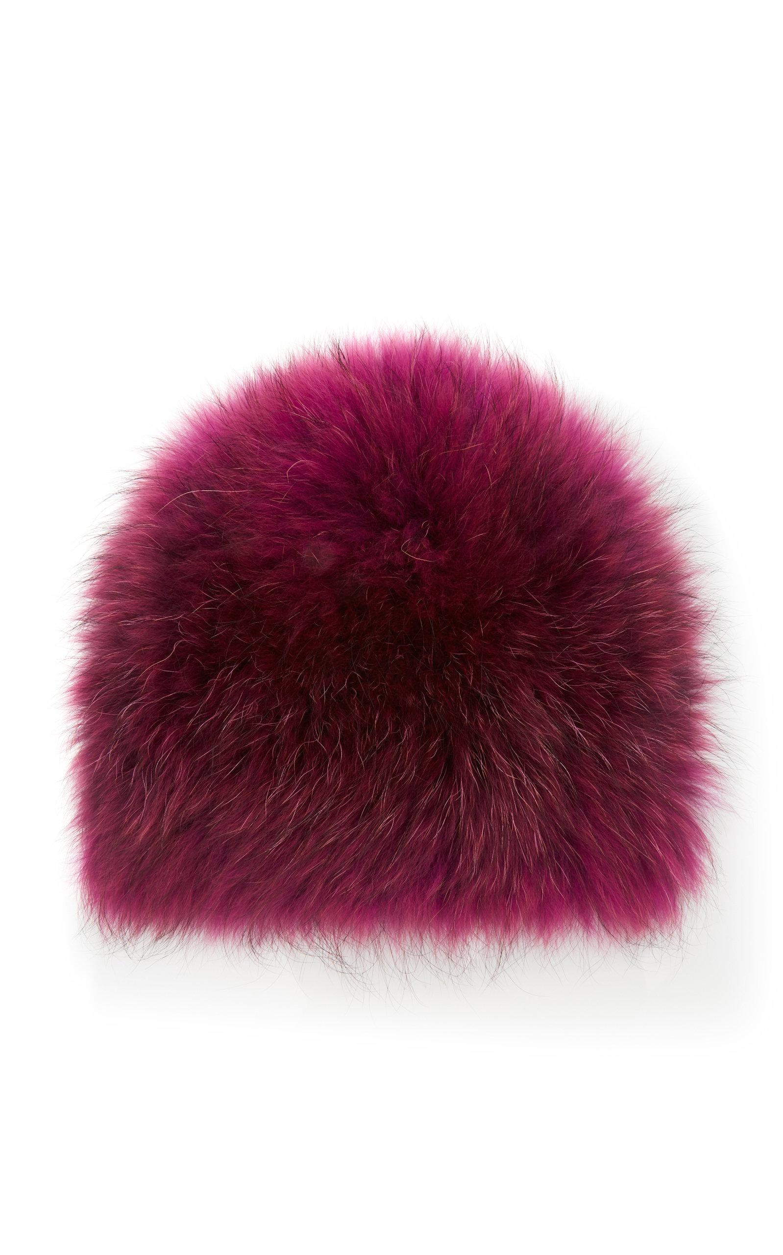 YESTADT MILLINERY Le Fluff Fox Fur Beanie in Pink