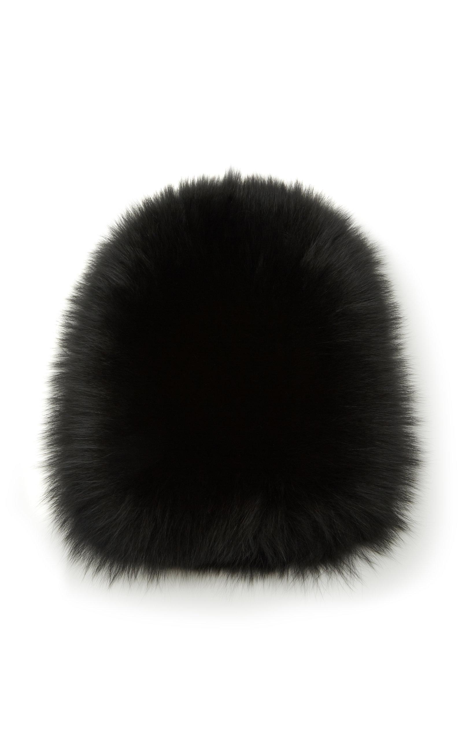 YESTADT MILLINERY Le Fluff Fox Fur Beanie in Black