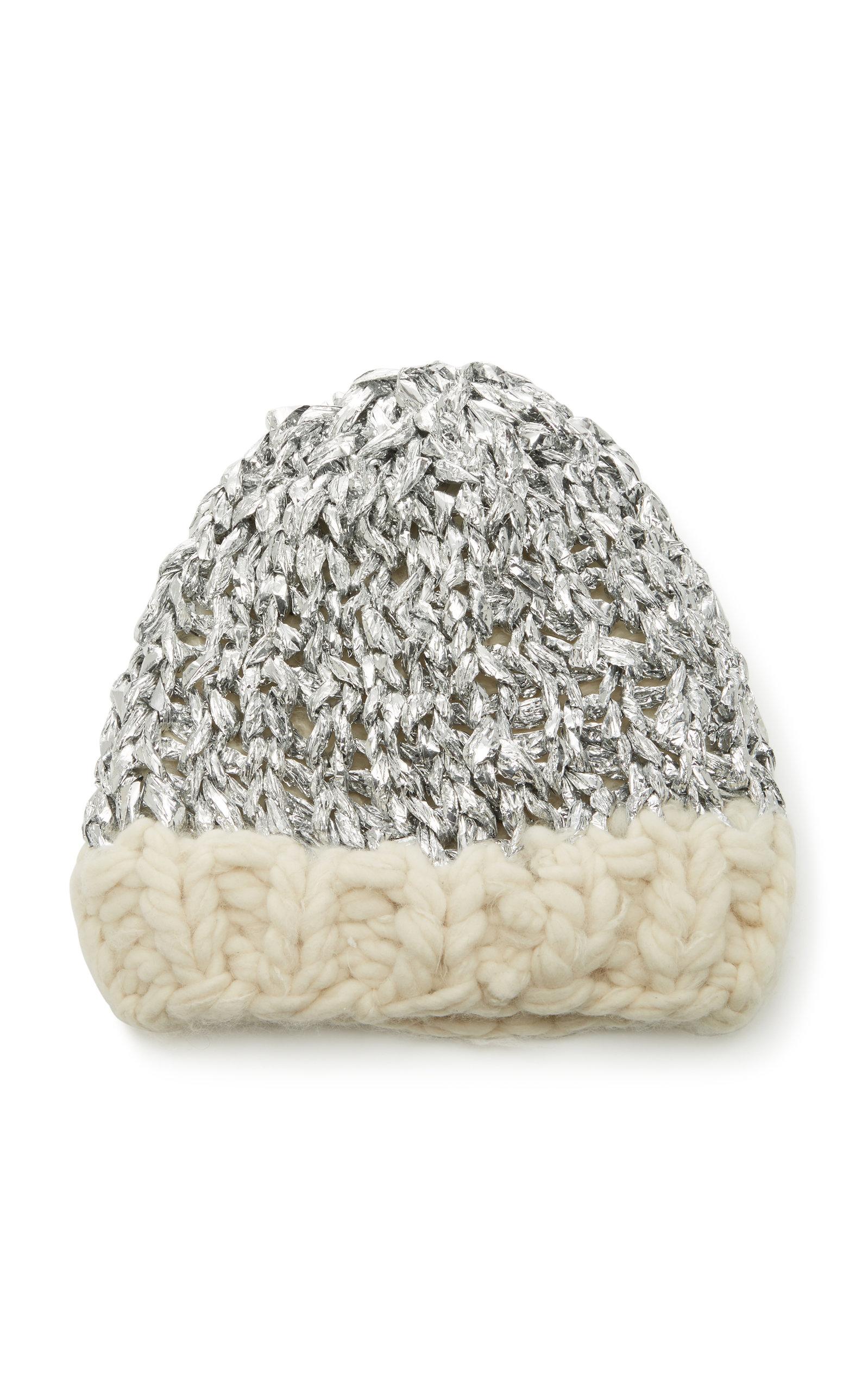 YESTADT MILLINERY Mylar Metallic Wool Beanie in Grey