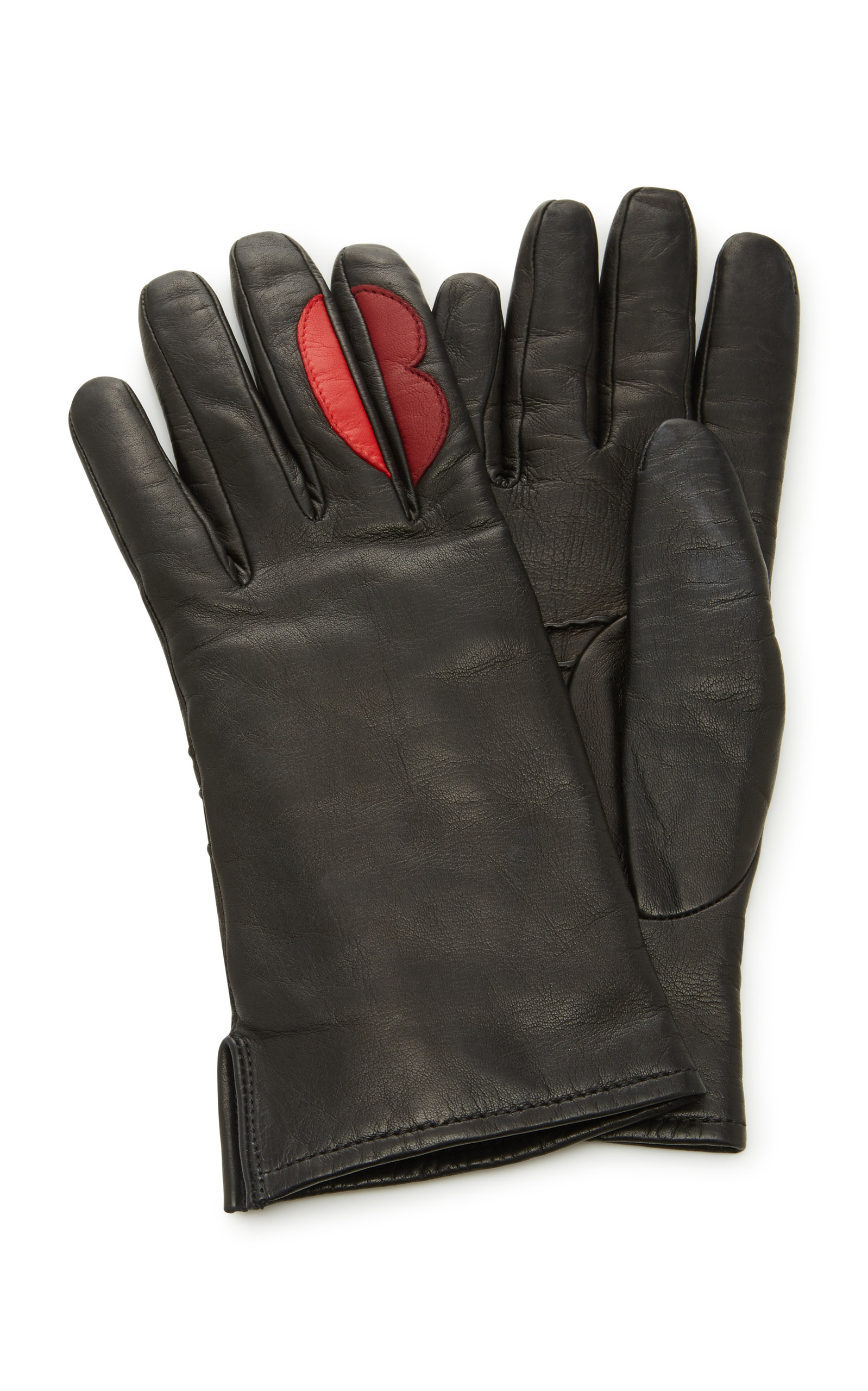YESTADT MILLINERY LIP APPLIQUÉ LEATHER GLOVES