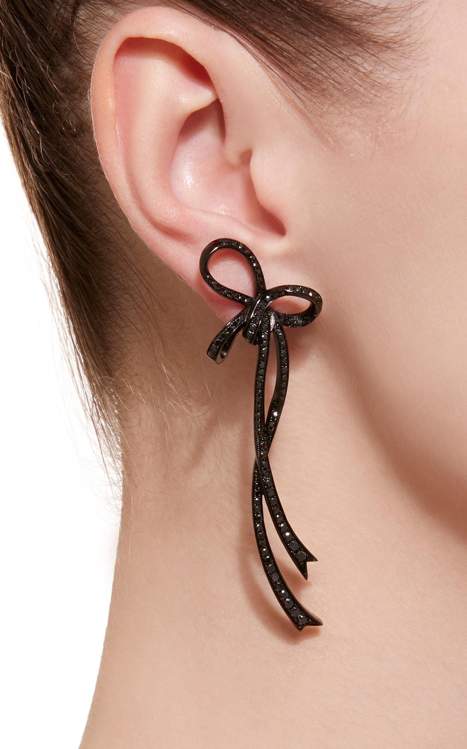 Grandes Boucles D'oreilles En Diamant Or Noir 18 Carats Arc Bijoux Colette O3pFu2