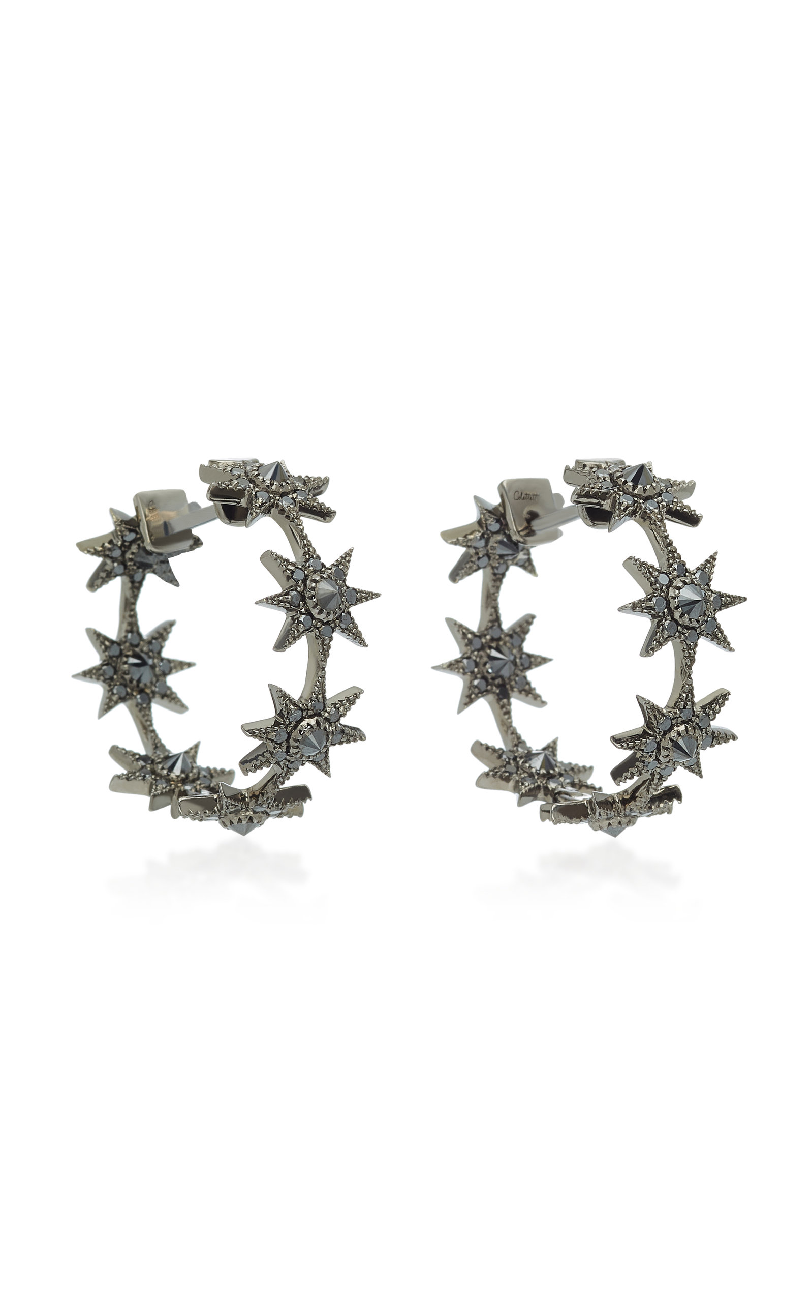 Colette Jewelry Baby Star 18k Gold Black Diamond Earrings White