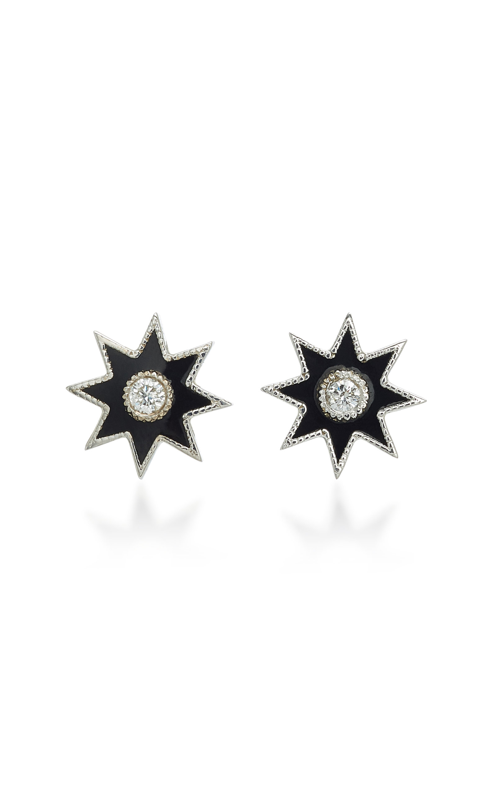 COLETTE JEWELRY TWINKLE STAR 18K WHITE GOLD DIAMOND AND ENAMEL EARRINGS