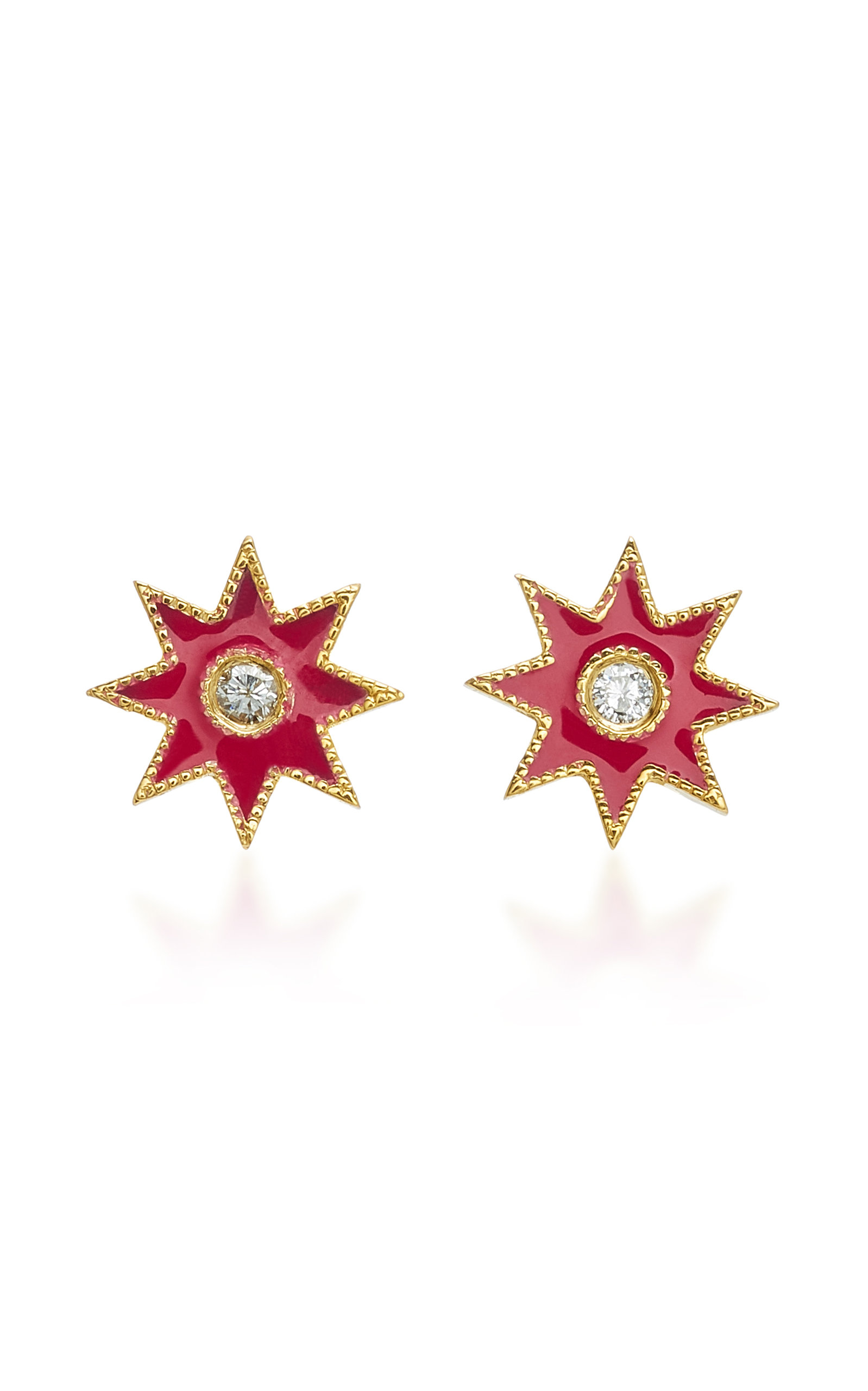COLETTE JEWELRY STAR 18K WHITE GOLD ENAMEL AND DIAMOND EARRINGS