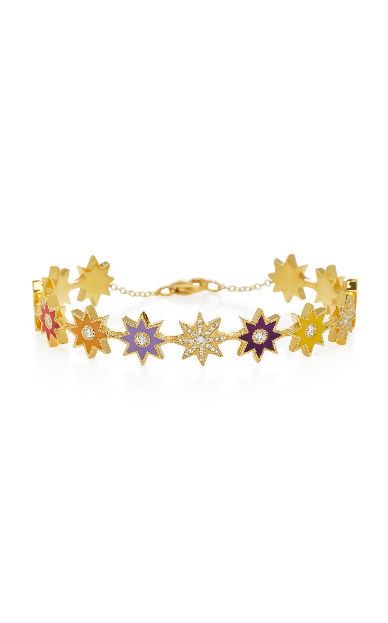 COLETTE JEWELRY 18K GOLD PAVE DIAMOND AND ENAMEL BRACELET