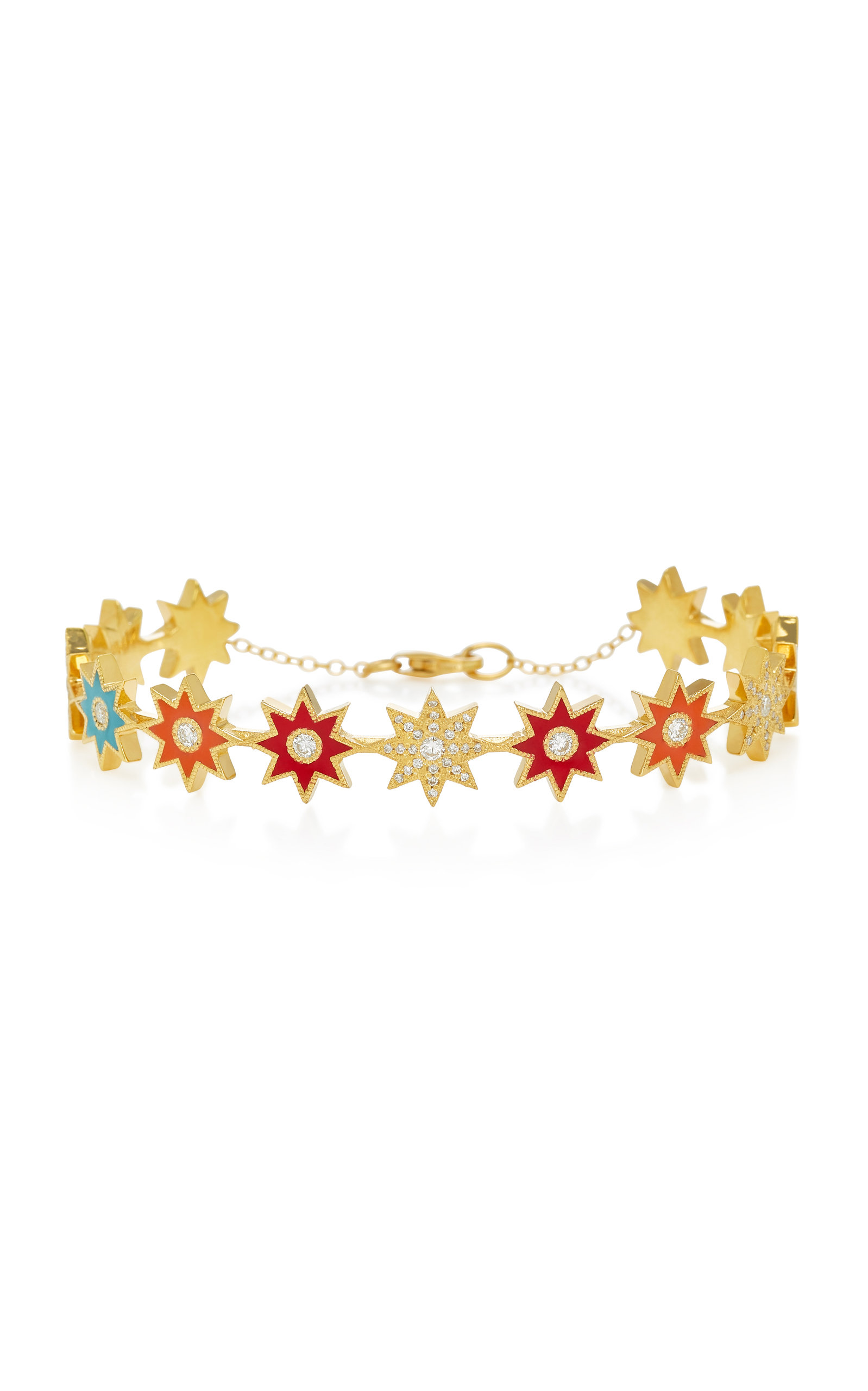 COLETTE JEWELRY 18K GOLD ENAMEL AND DIAMOND BRACELET