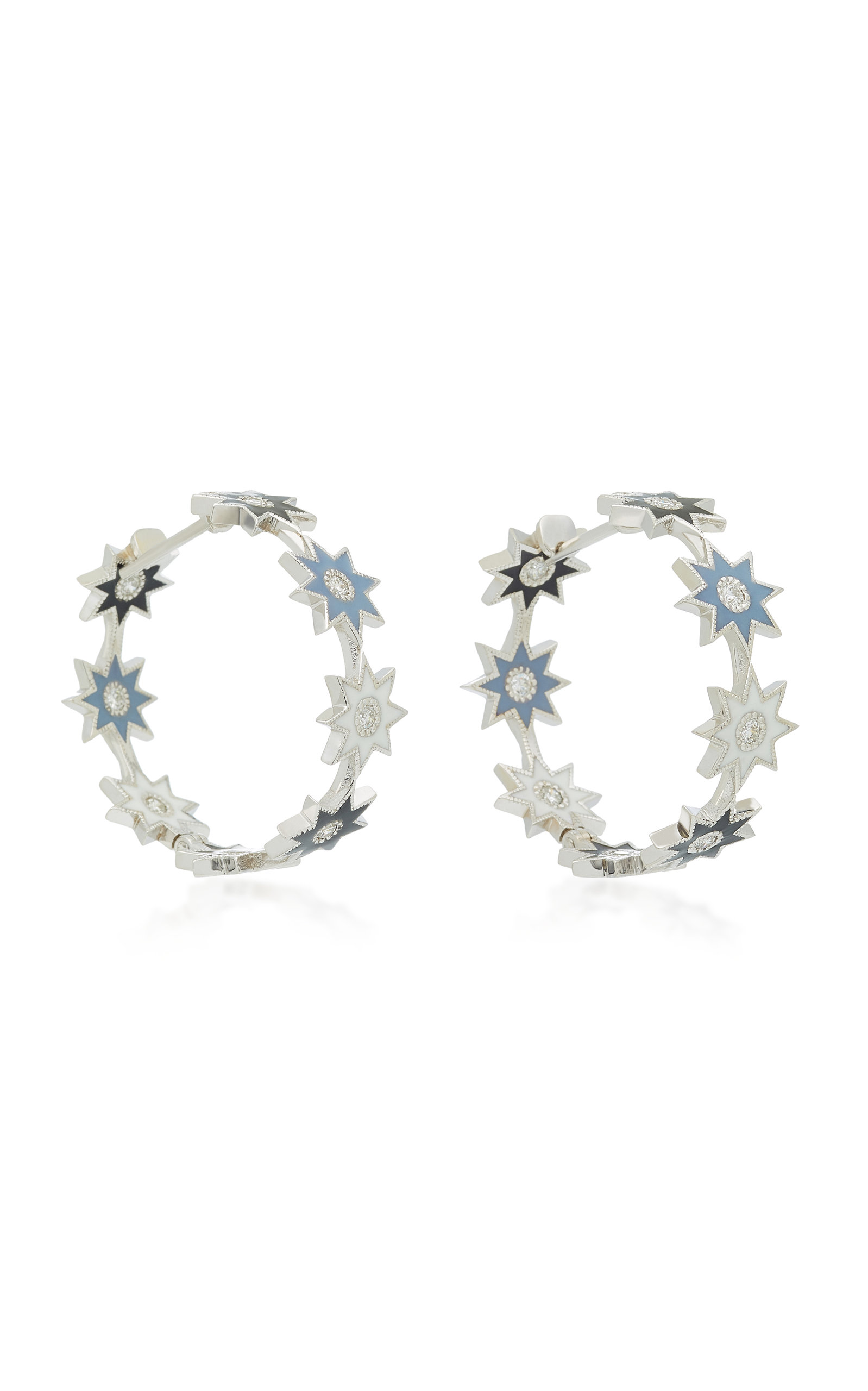 COLETTE JEWELRY 18K WHITE GOLD ENAMEL AND DIAMOND EARRINGS