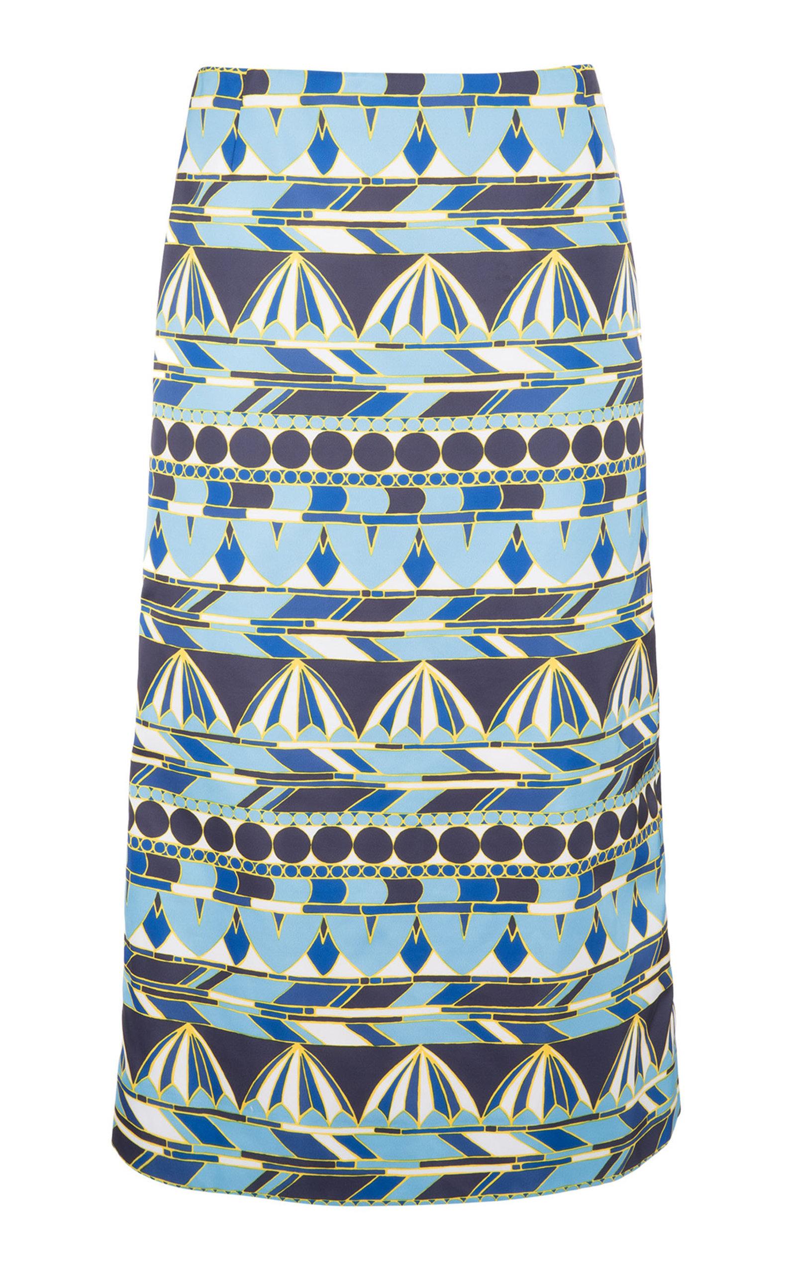 LA DOUBLEJ Umbrellas-Print Pencil Skirt in Blue