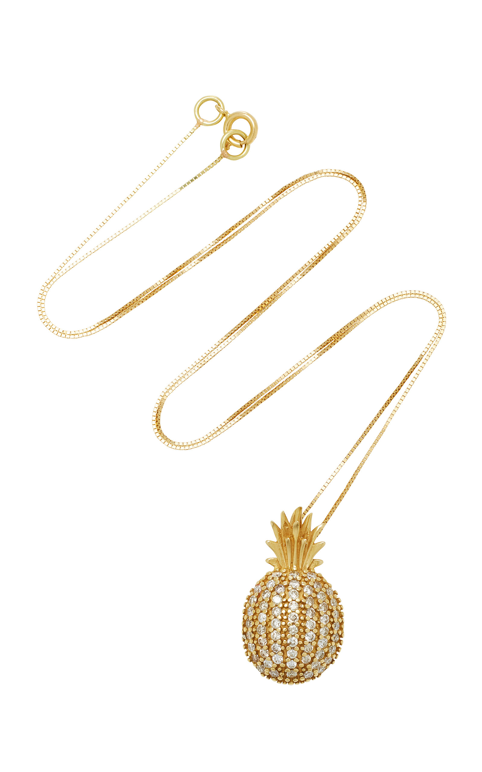 sapphire gallery gold jewelry necklace lyst product in sydney pineapple evan diamond white pendant