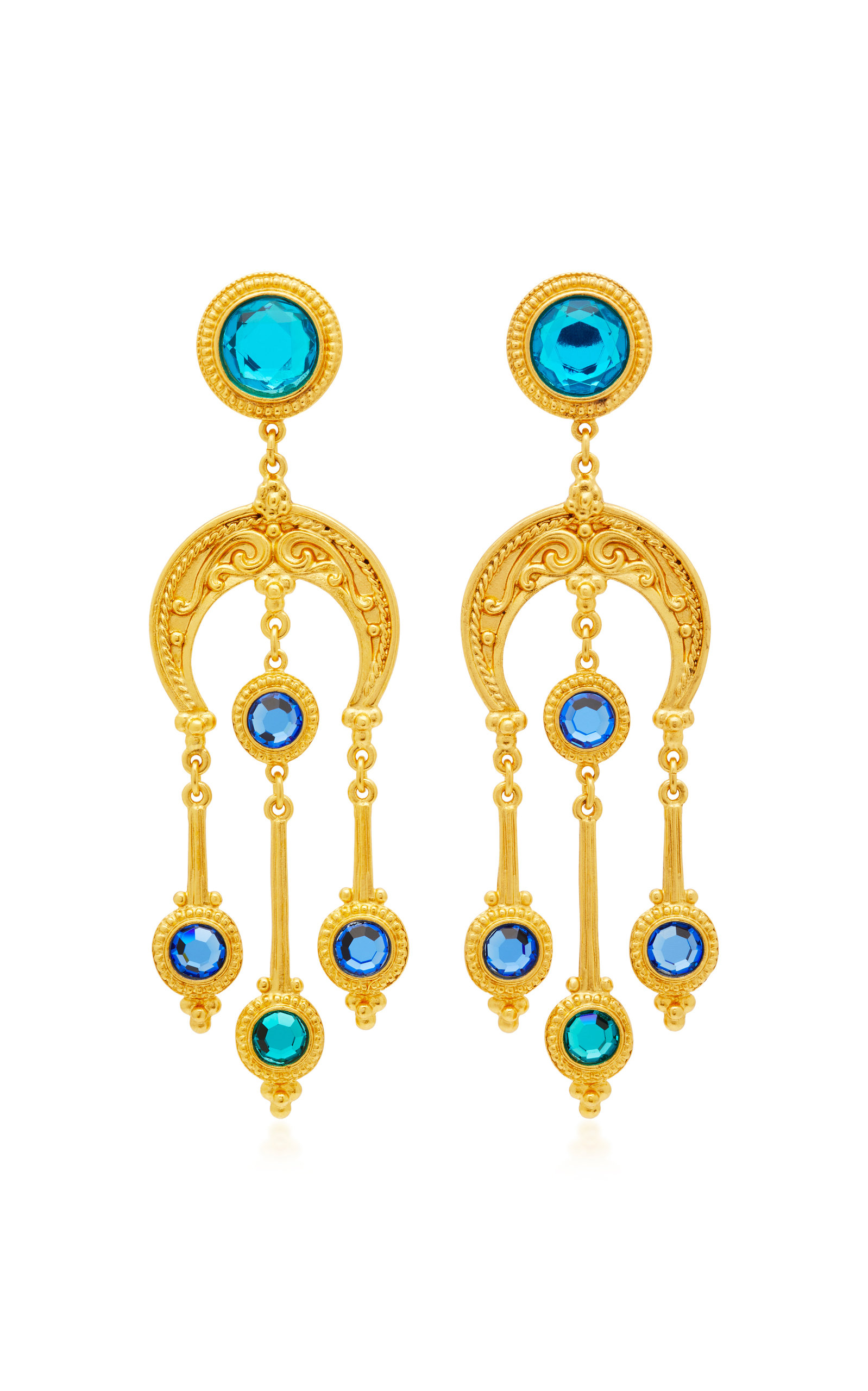 BEN AMUN GOLD-PLATED CRYSTAL EARRINGS