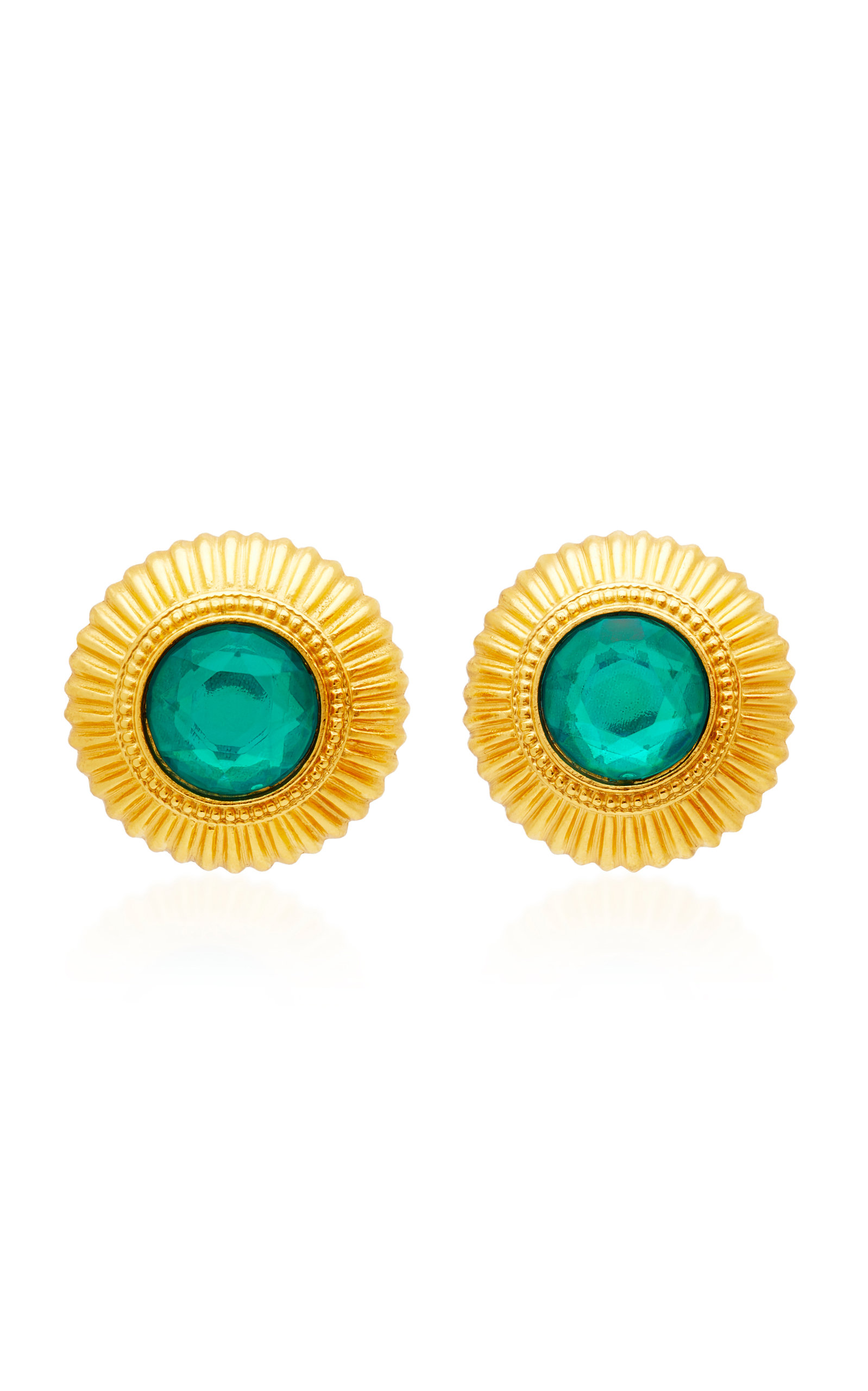 BEN AMUN GOLD-PLATED CRYSTAL STUD EARRINGS