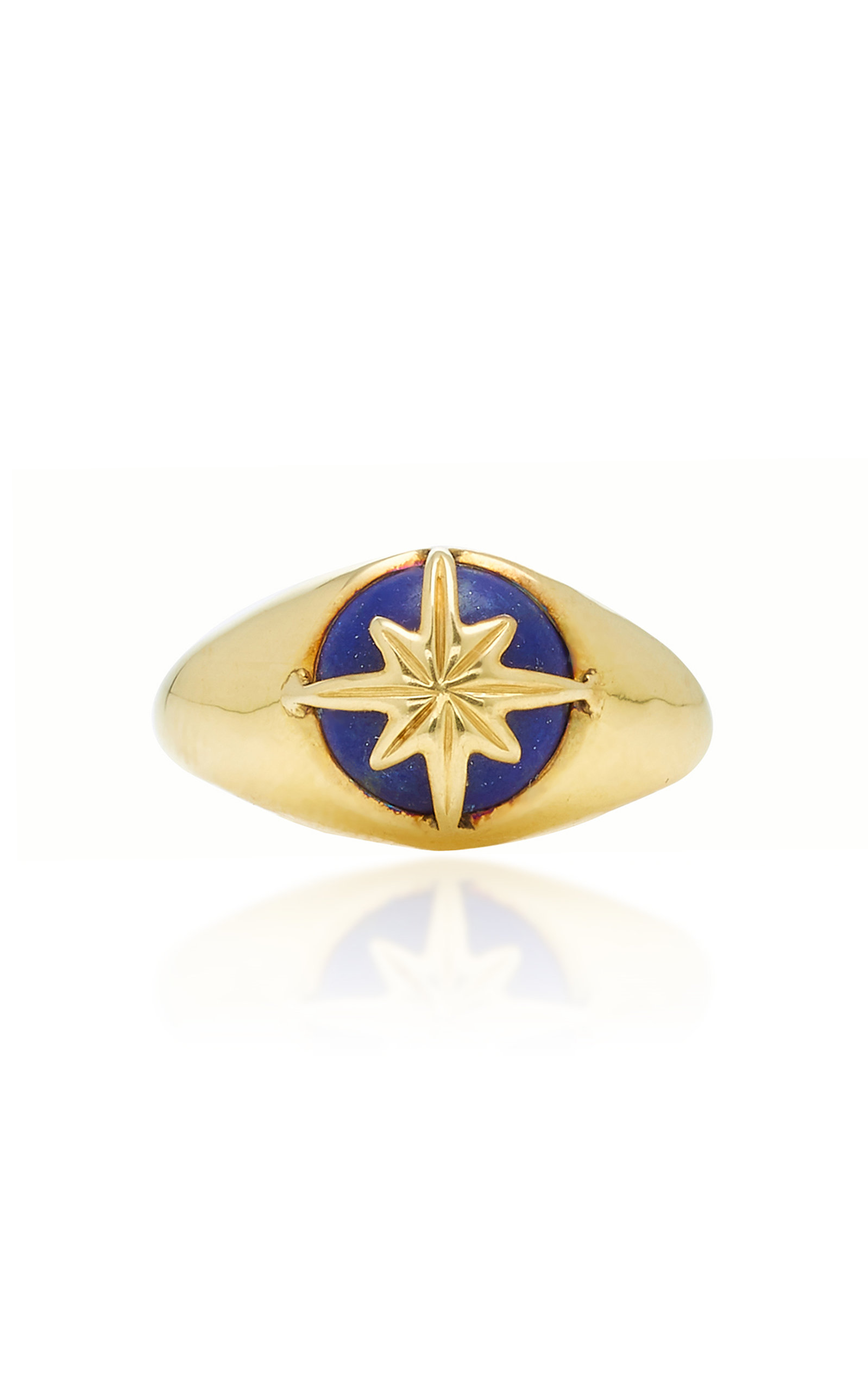 THEODORA WARRE STAR LAPIS GOLD-PLATED STERLING SILVER PINKY RING.