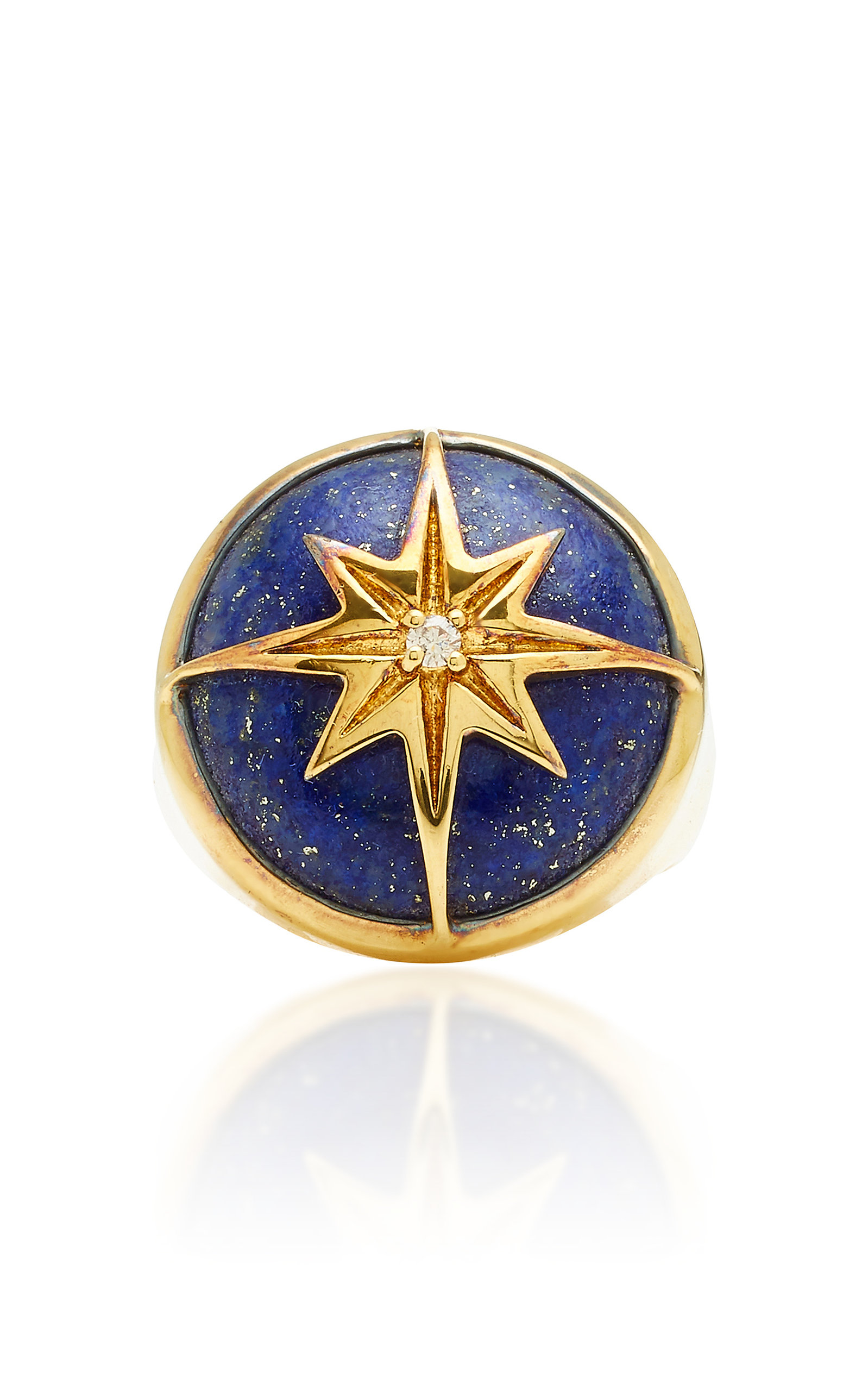 THEODORA WARRE STAR LAPIS GOLD-PLATED STERLING SILVER RING