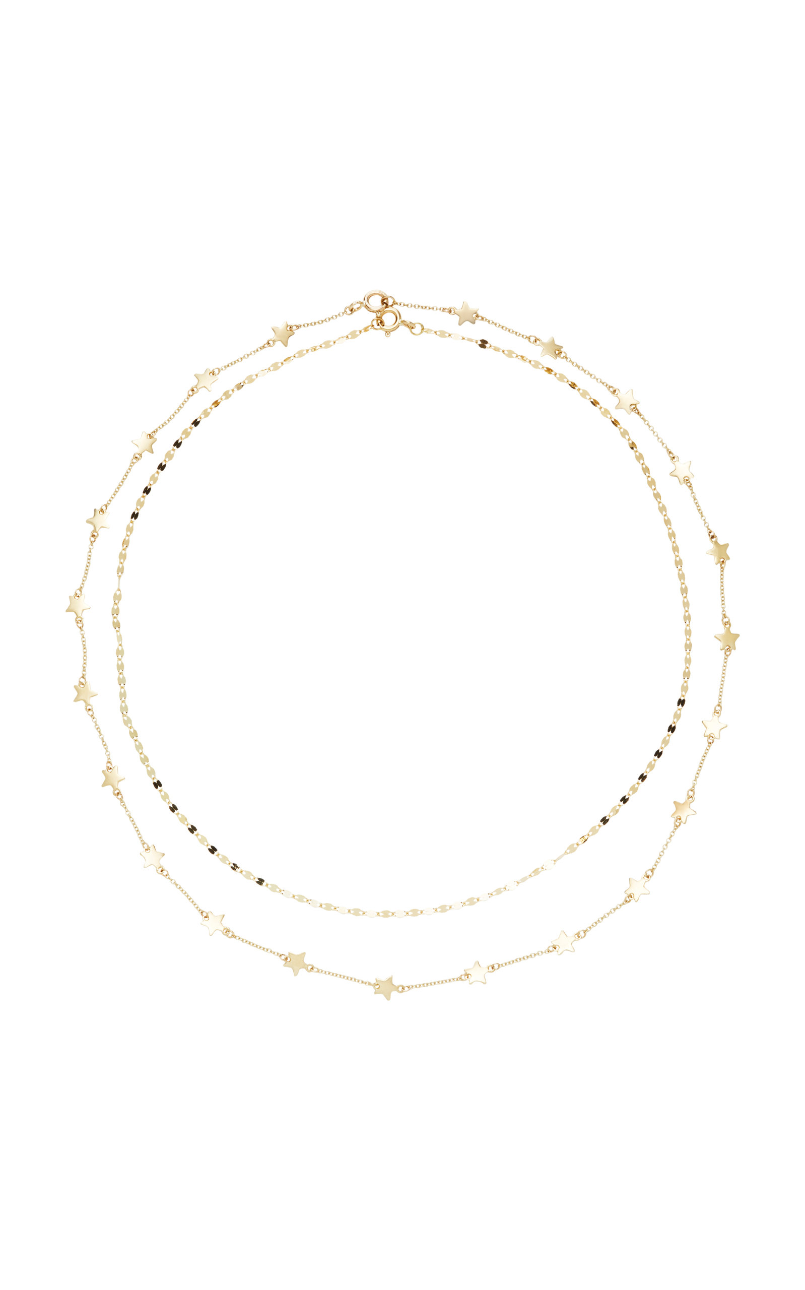 LIL MILAN SET-OF-TWO BOYS TEARS AND STARRY NIGHT 9K GOLD NECKLACES