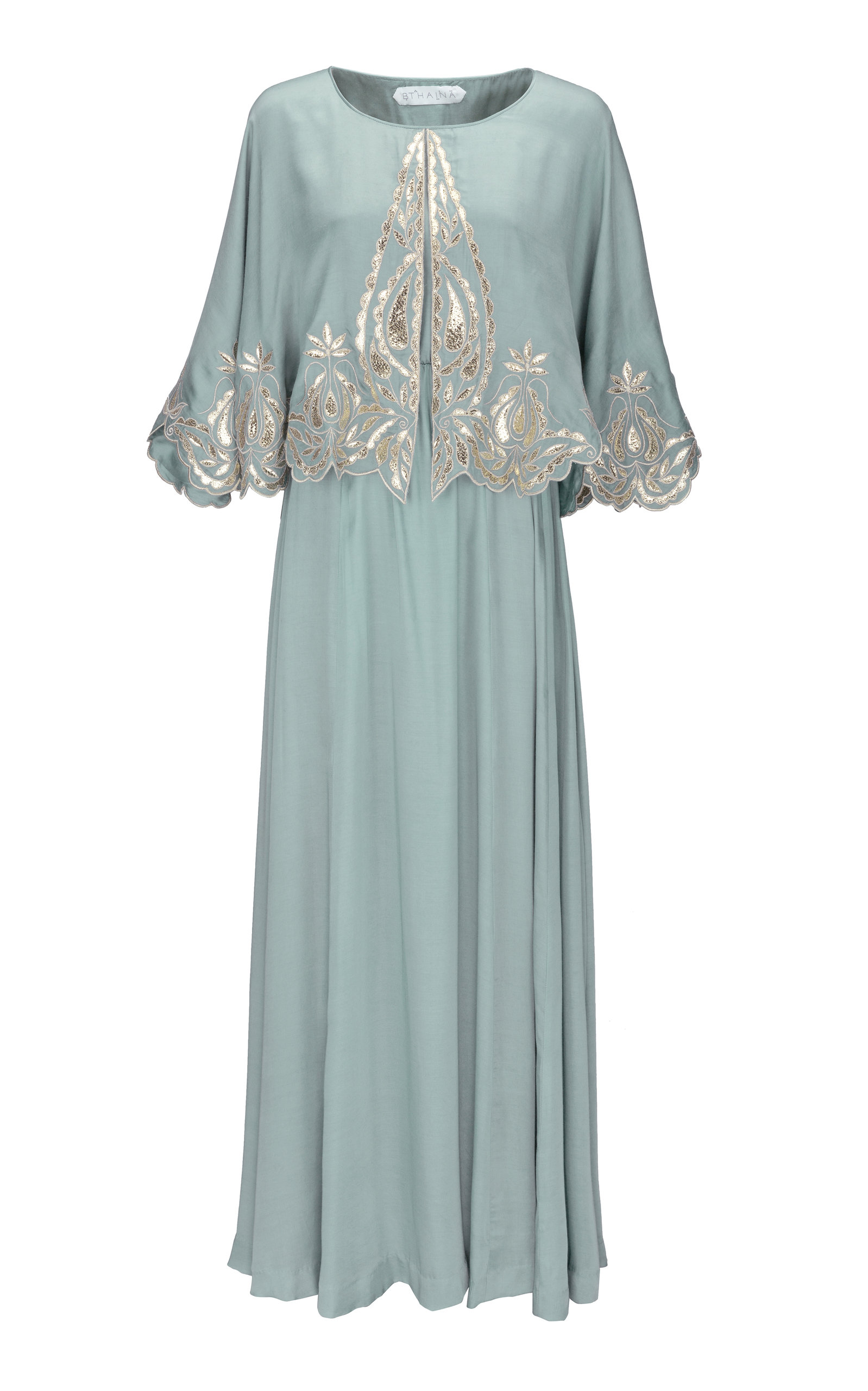 CAPE-EFFECT EMBROIDERED JERSEY KAFTAN