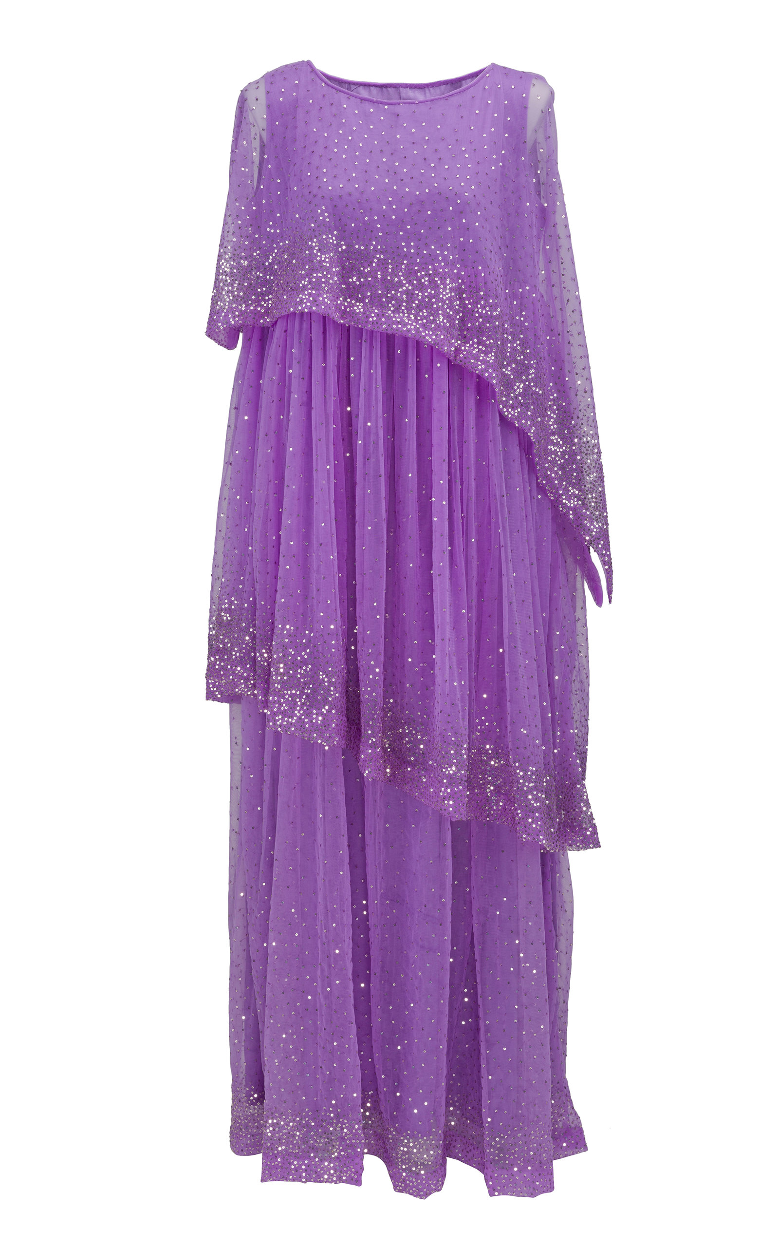 BTHAINA Tiered Embellished Chiffon Kaftan in Purple