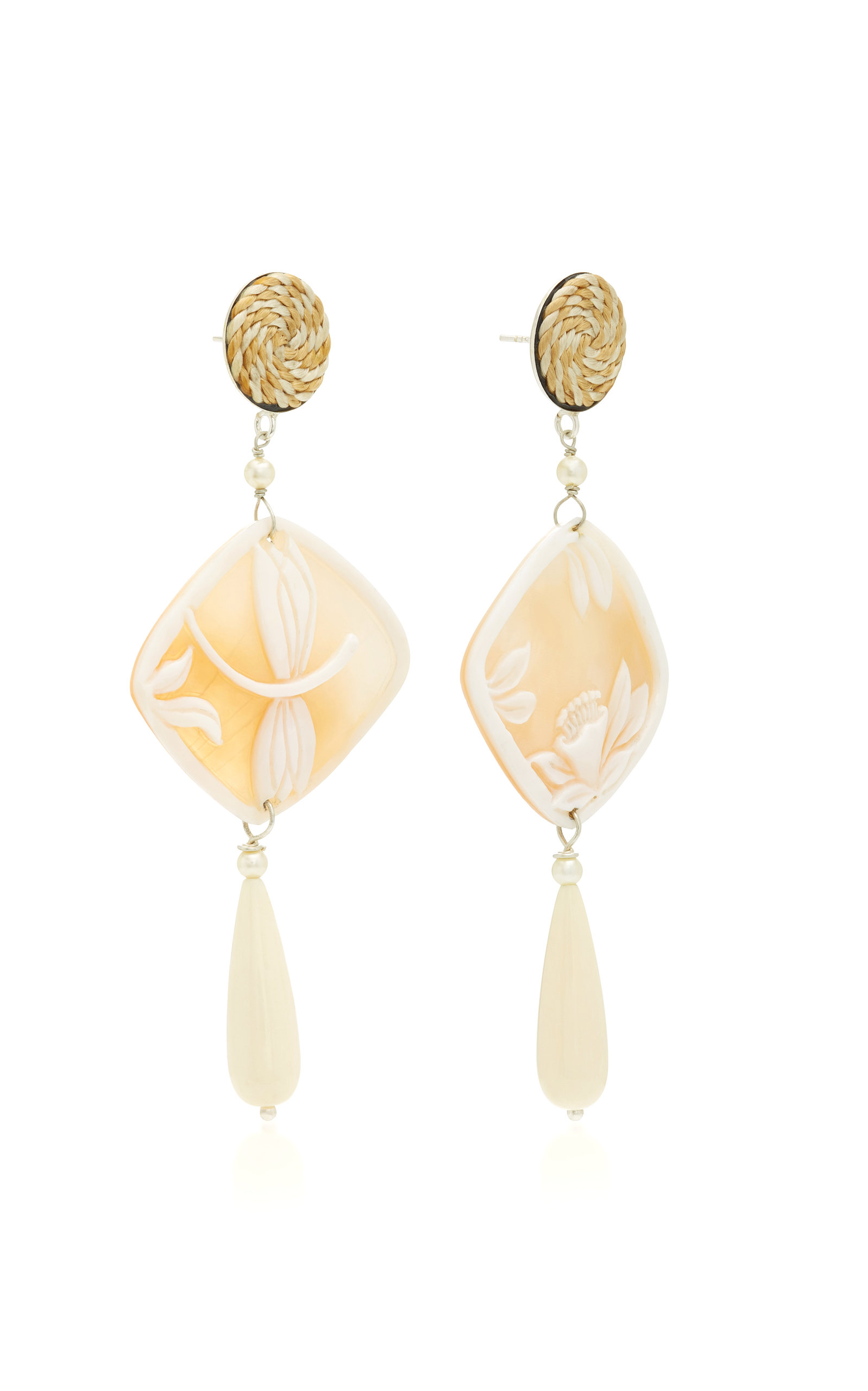 Shell Silver-Plated And Pearl Earrings Anna E Alex slefAmGwo