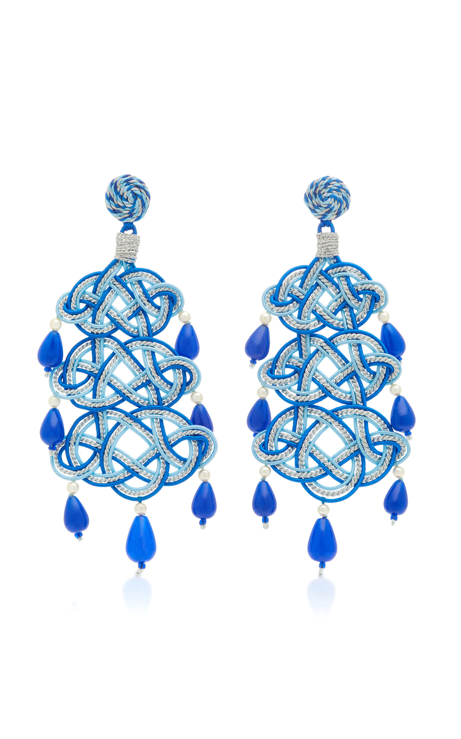 ANNA E ALEX WOVEN STONE SILVER-PLATED EARRINGS