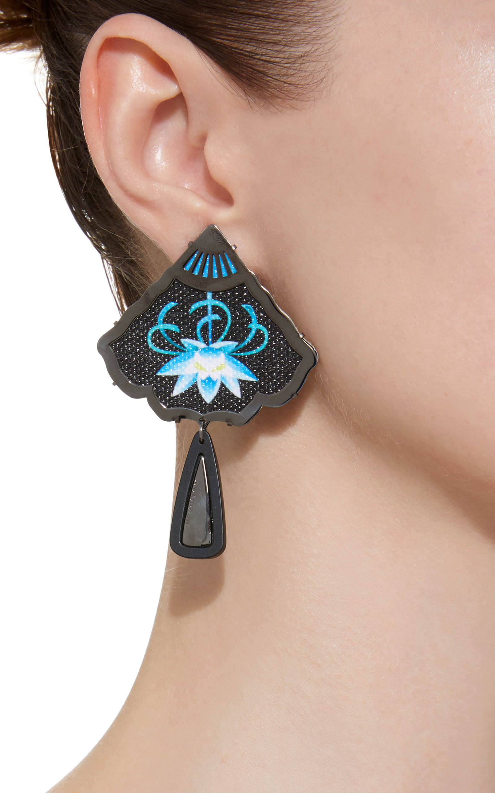 Silver And Black Rhodium-Plated Embroidered Resin Earrings Anna E Alex AwAFoRcCG1