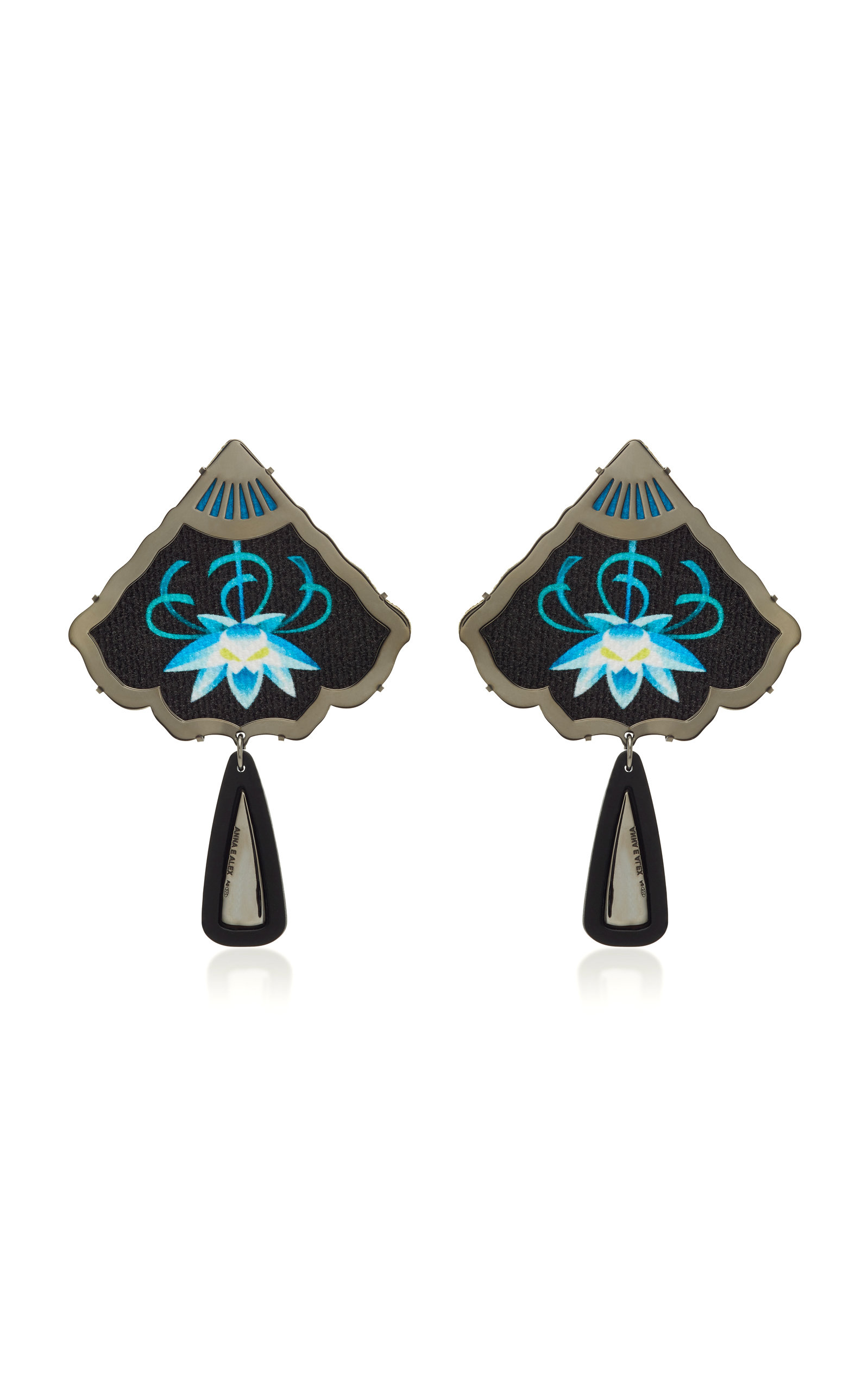 ANNA E ALEX SILVER AND BLACK RHODIUM-PLATED EMBROIDERED RESIN EARRINGS