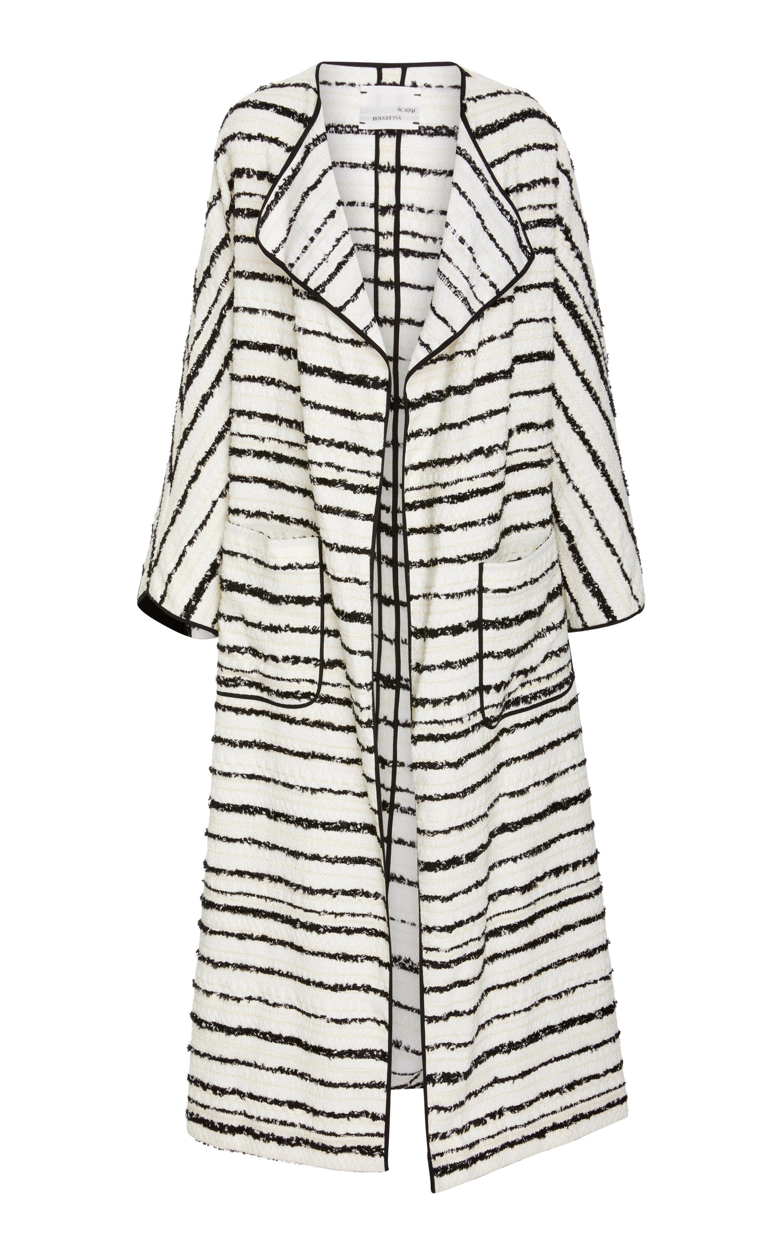 BOUGUESSA Tweed Striped Long Cardigan in Black/White