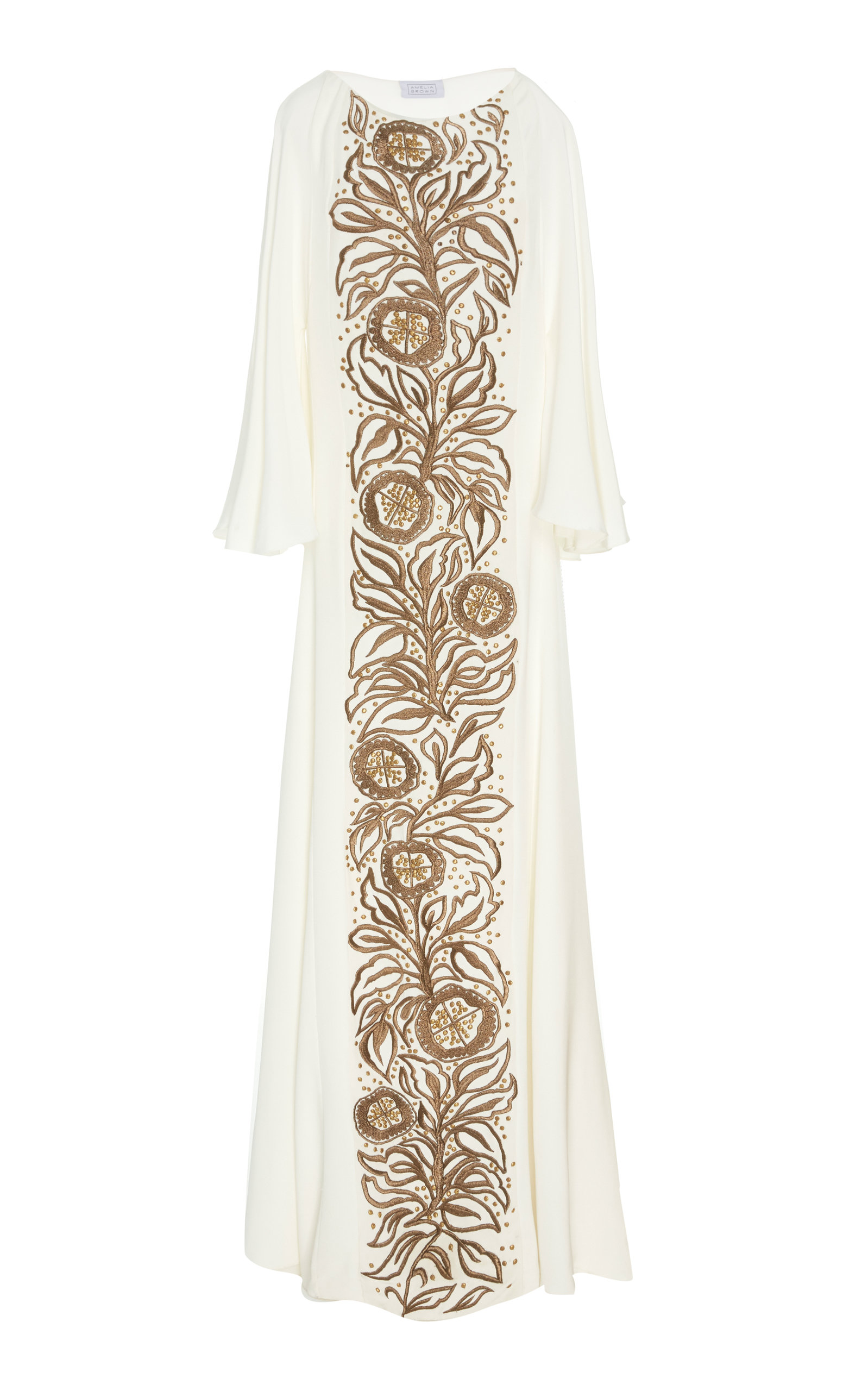 AMELIA BROWN Tree Of Life Embroidered Caftan in White