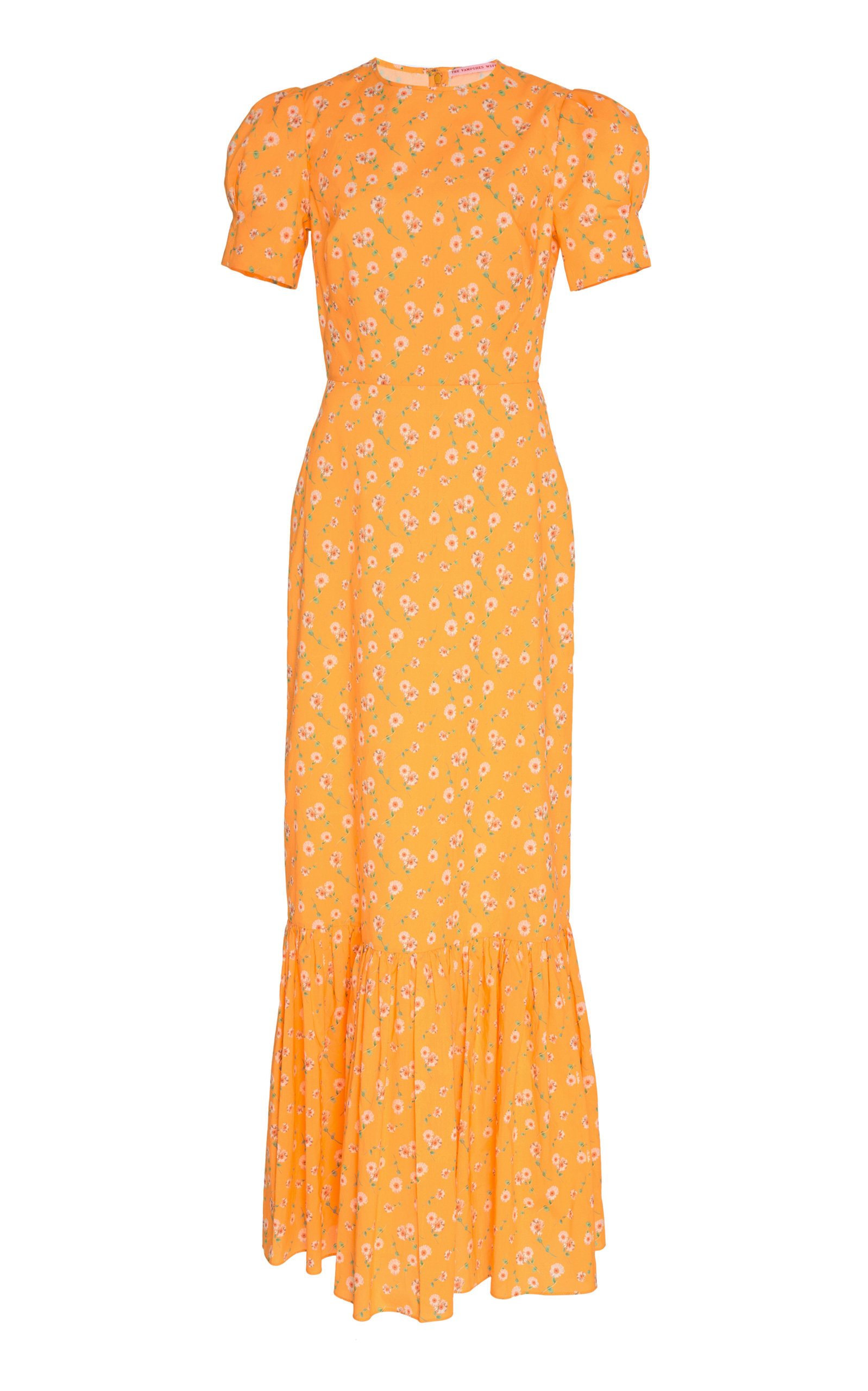 THE VAMPIRE'S WIFE The Juno Printed Cotton Maxi Dress in Yellow