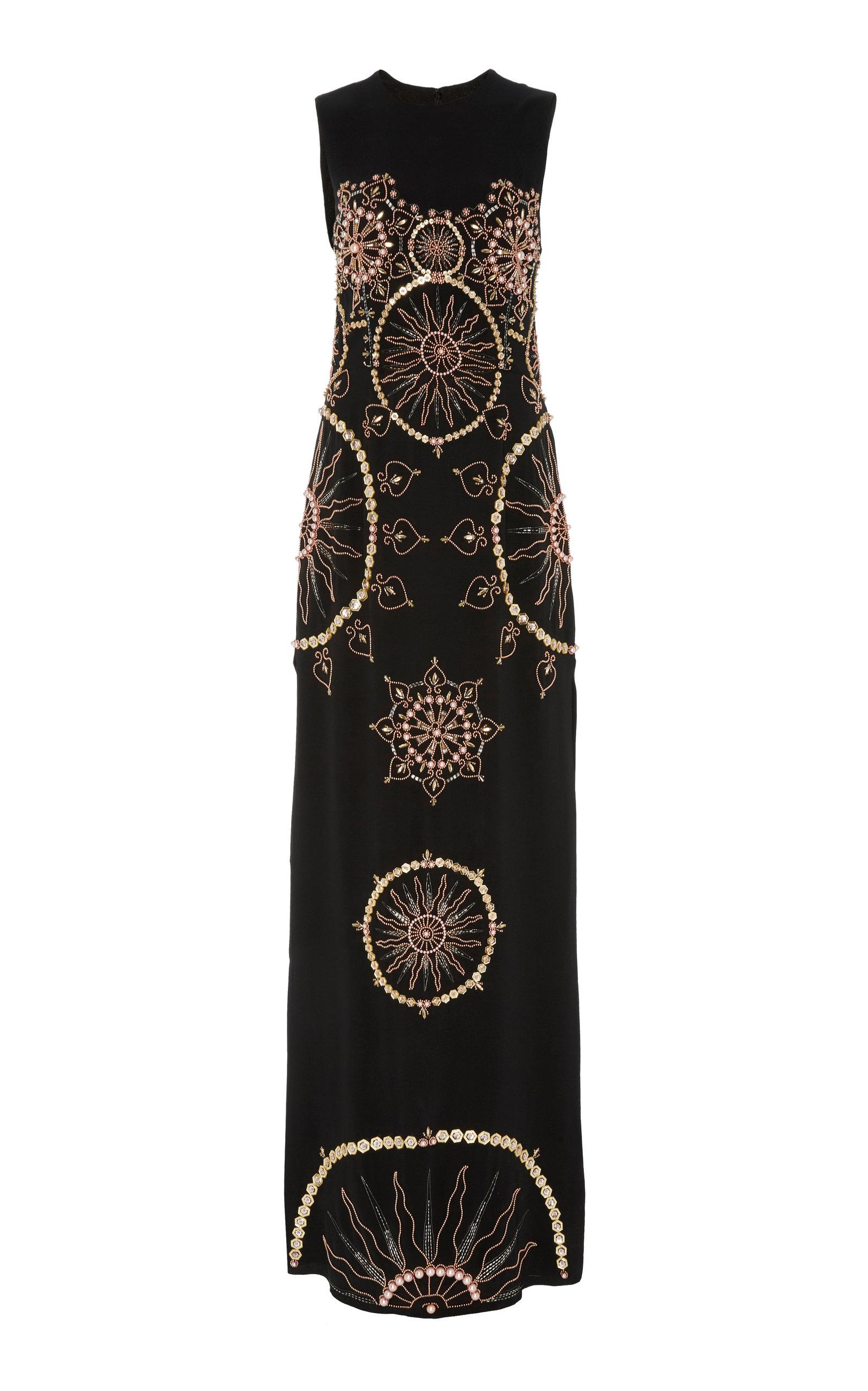 CUCCULELLI SHAHEEN Sol Invictus Heavy Silk Georgette Dress in Black