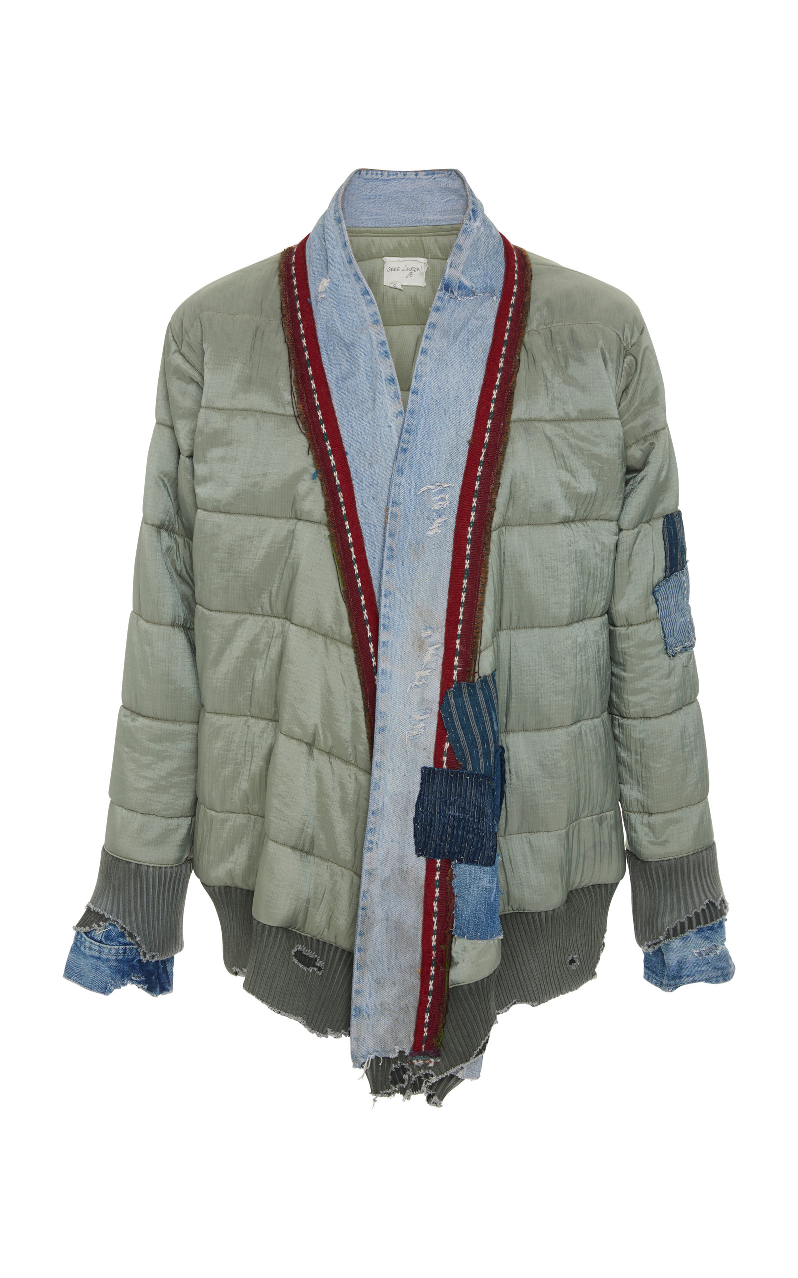 GREG LAUREN PATCHWORK-EFFECT DISTRESSED QUILTED-SHELL AND DENIM JACKET