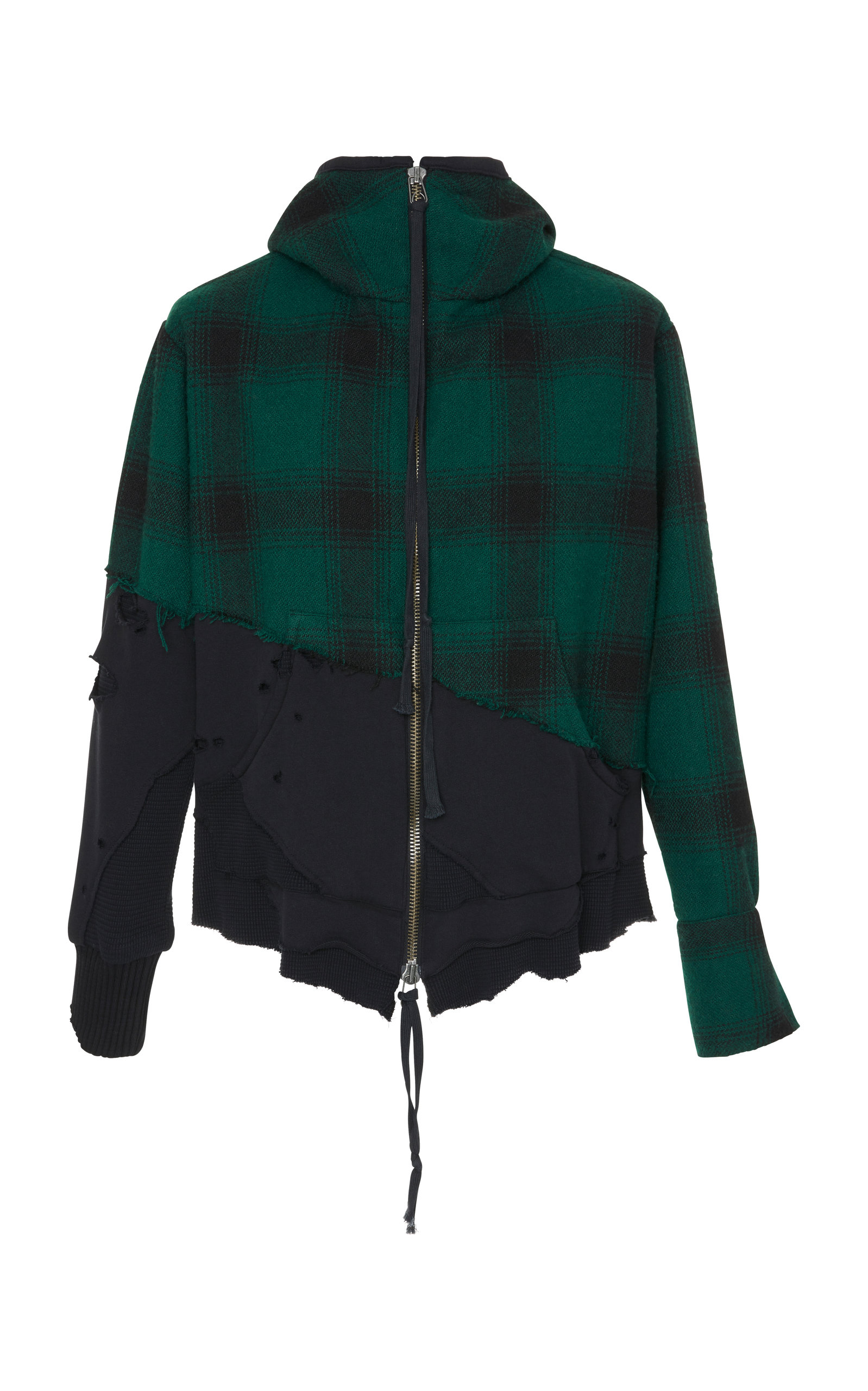 GREG LAUREN DISTRESSED PLAID WOOL AND COTTON-JERSEY HOODED TRACK JACKET