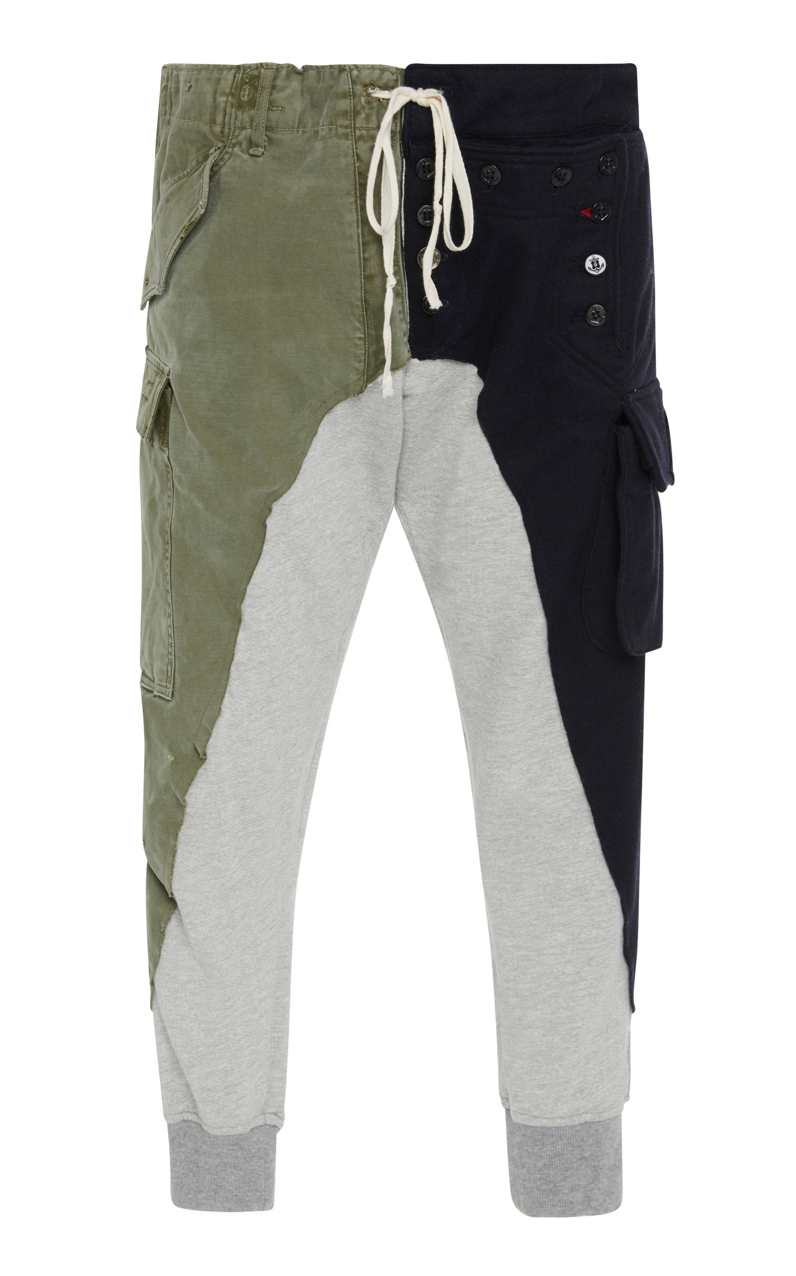 GREG LAUREN PATCHWORK-EFFECT COTTON AND WOOL TRACK PANTS