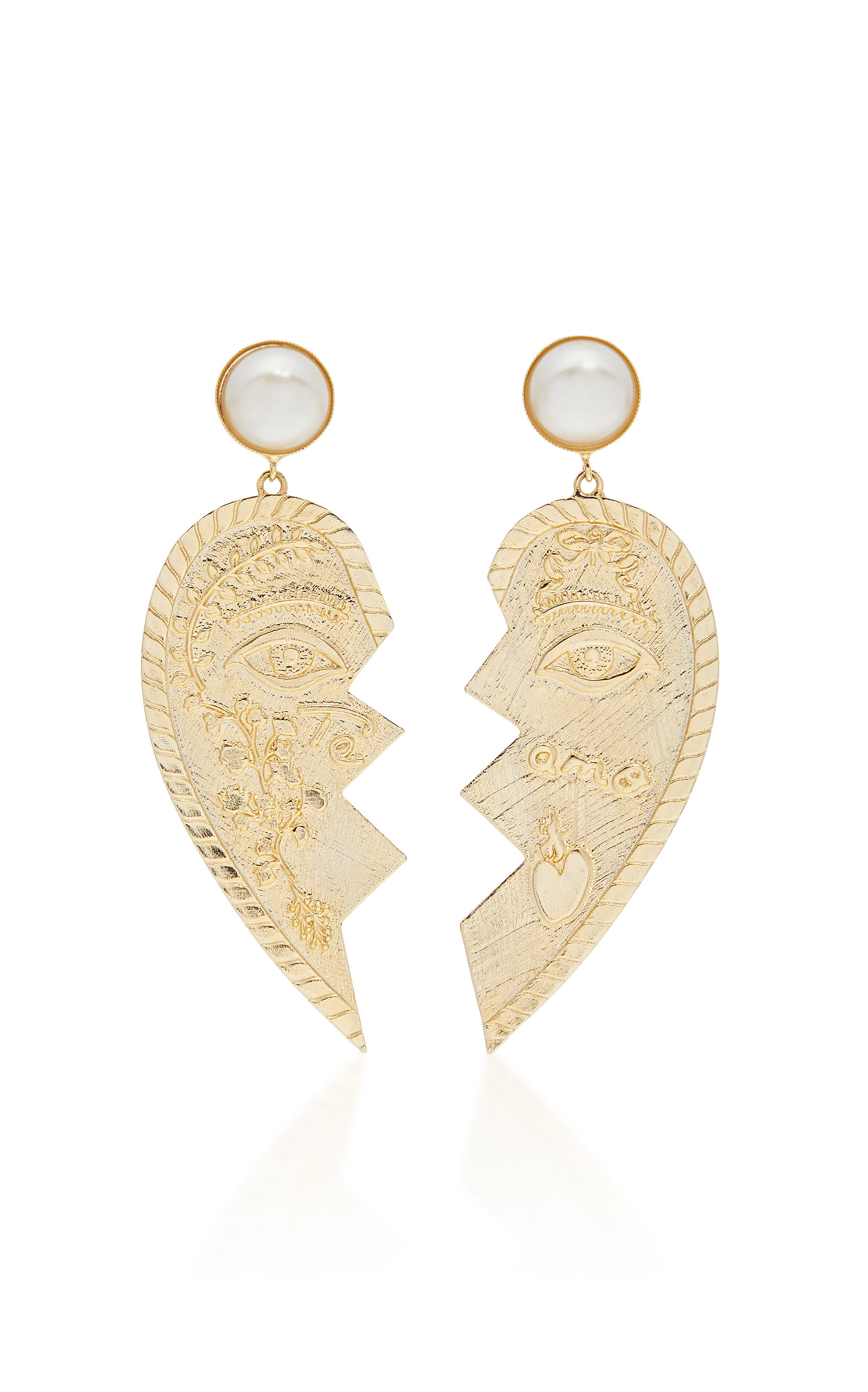 SANDRA MANSOUR Heart Earrings in Gold