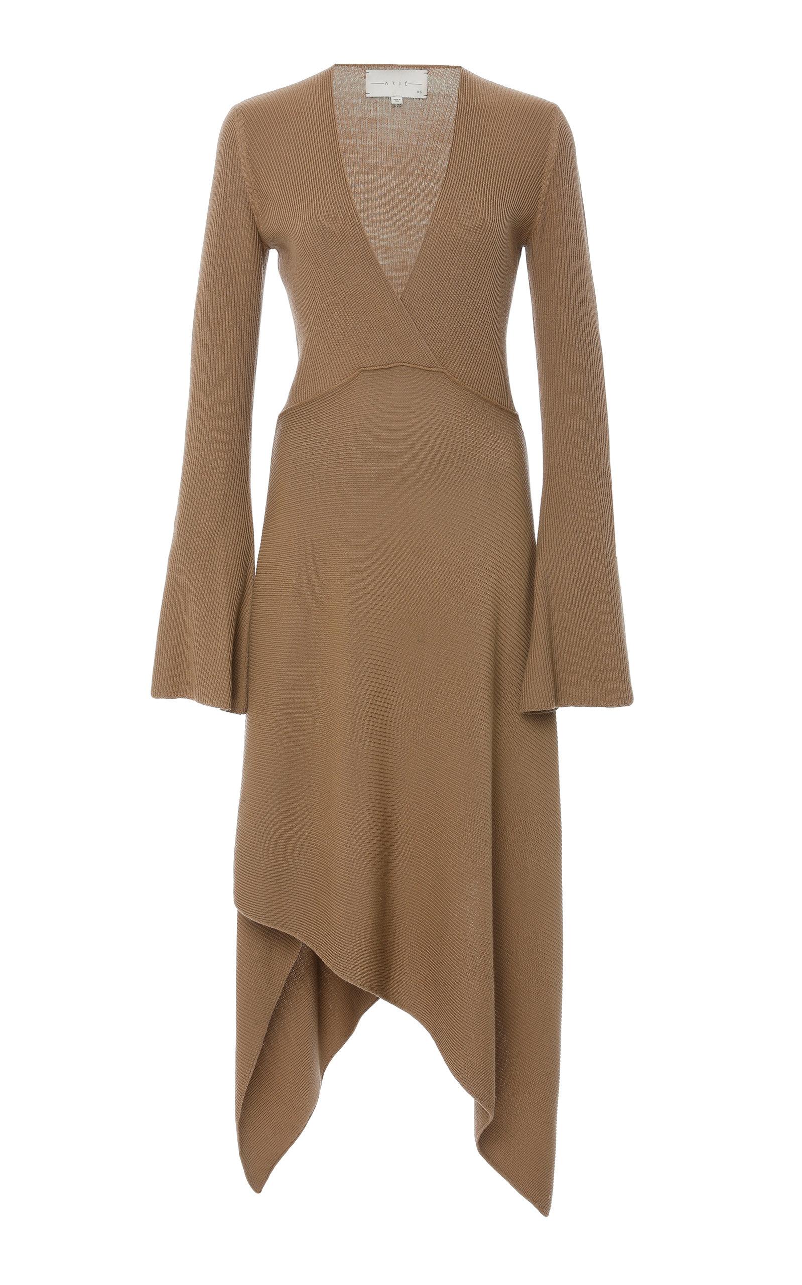 ARJE St Moritz Wool V Neck Dress in Brown