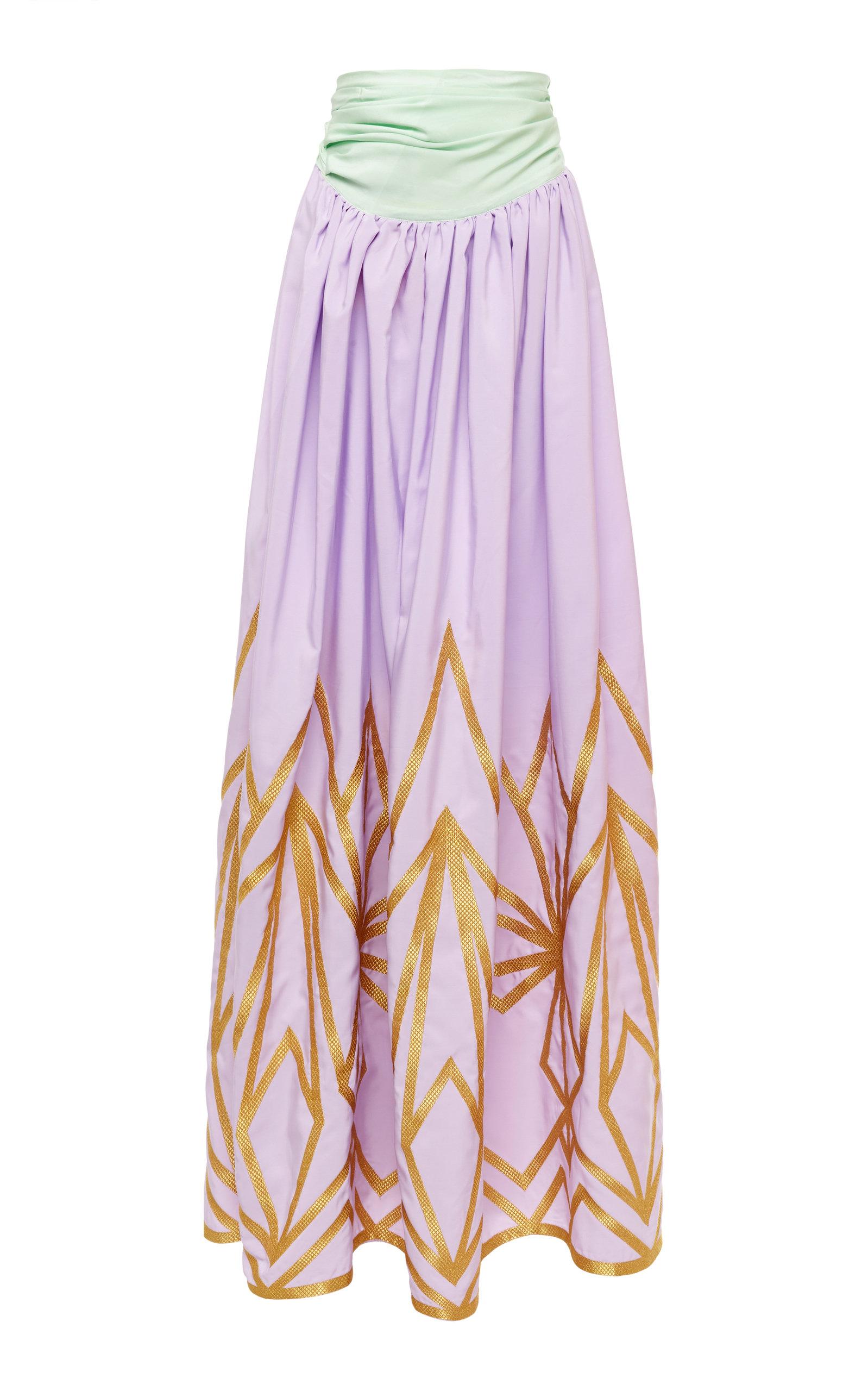 YULIYA MAGDYCH Cleopatra Silk Maxi Skirt in Purple