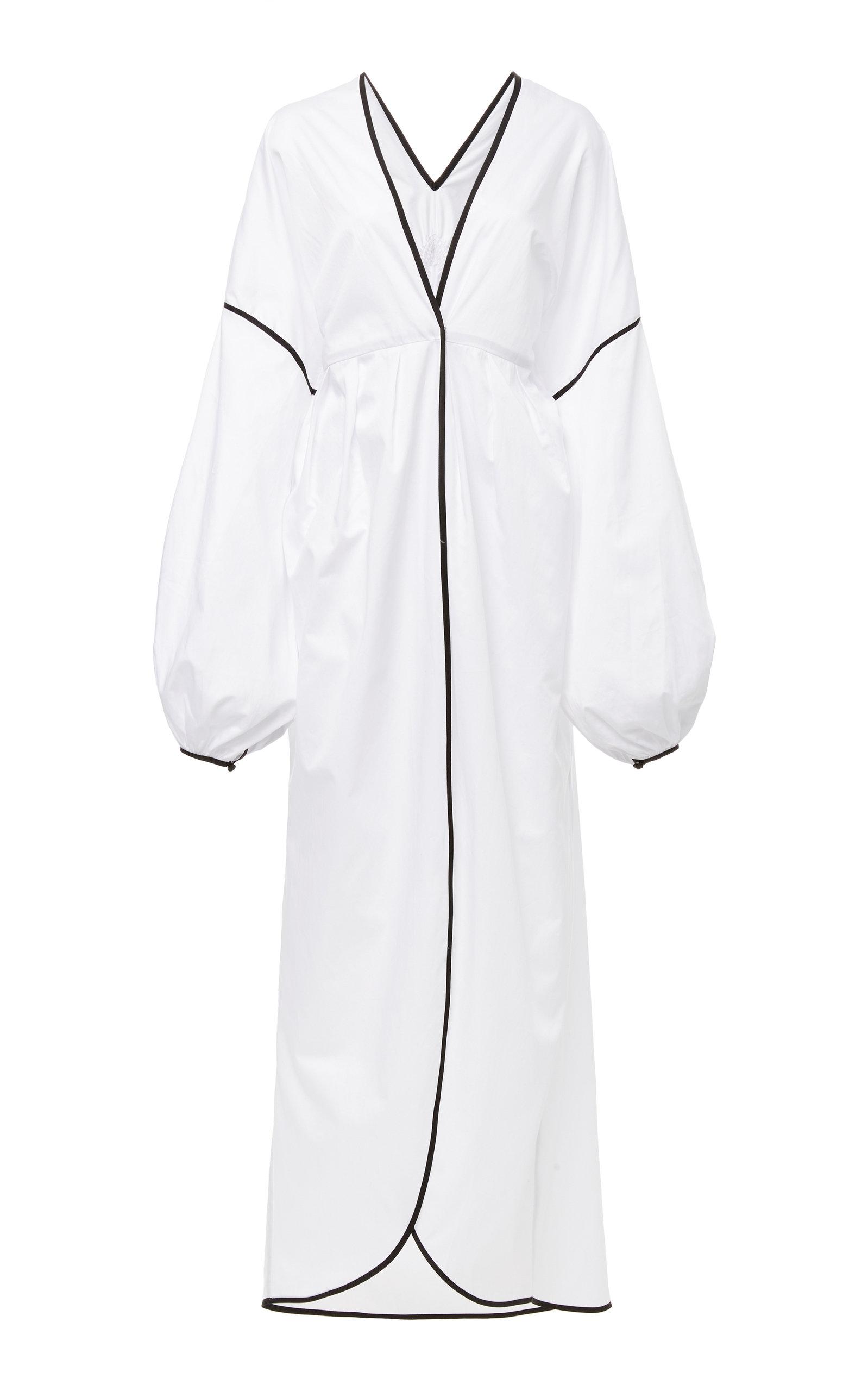 YULIYA MAGDYCH Panther Cotton Midi Robe in White