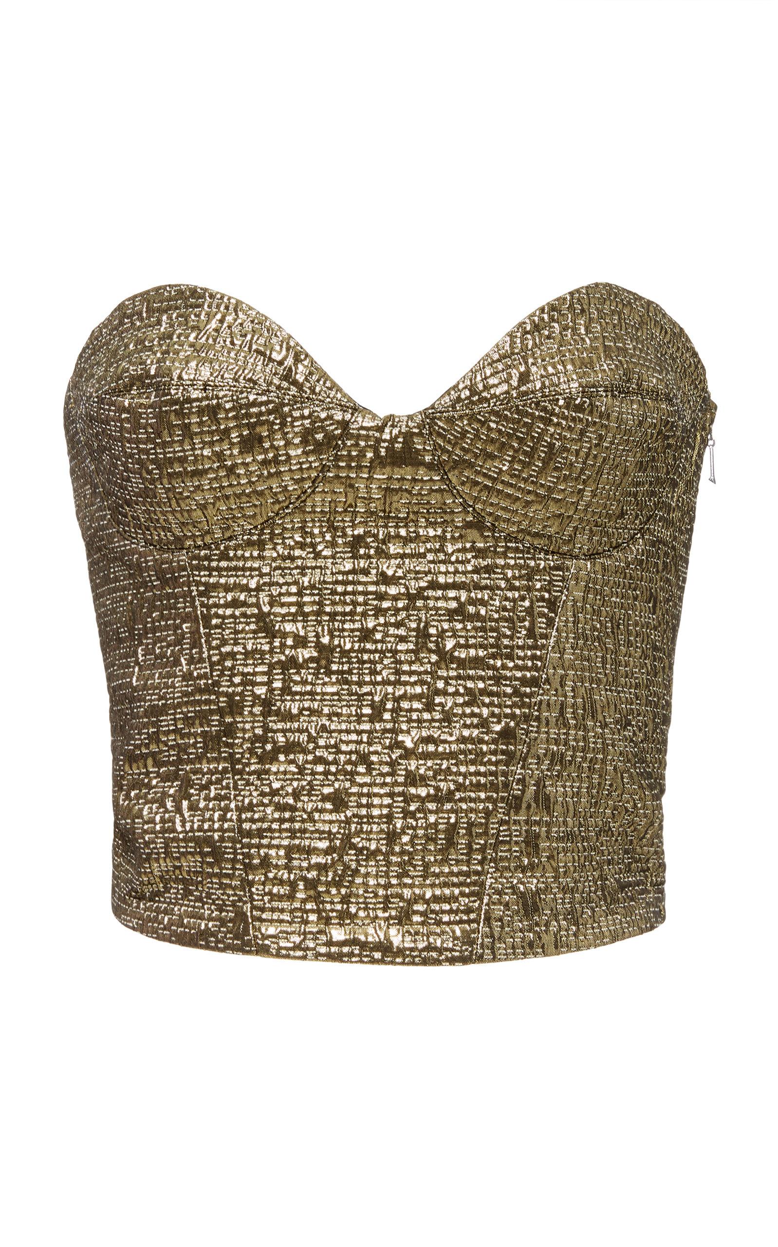 YULIYA MAGDYCH Doll Brocade Top in Gold