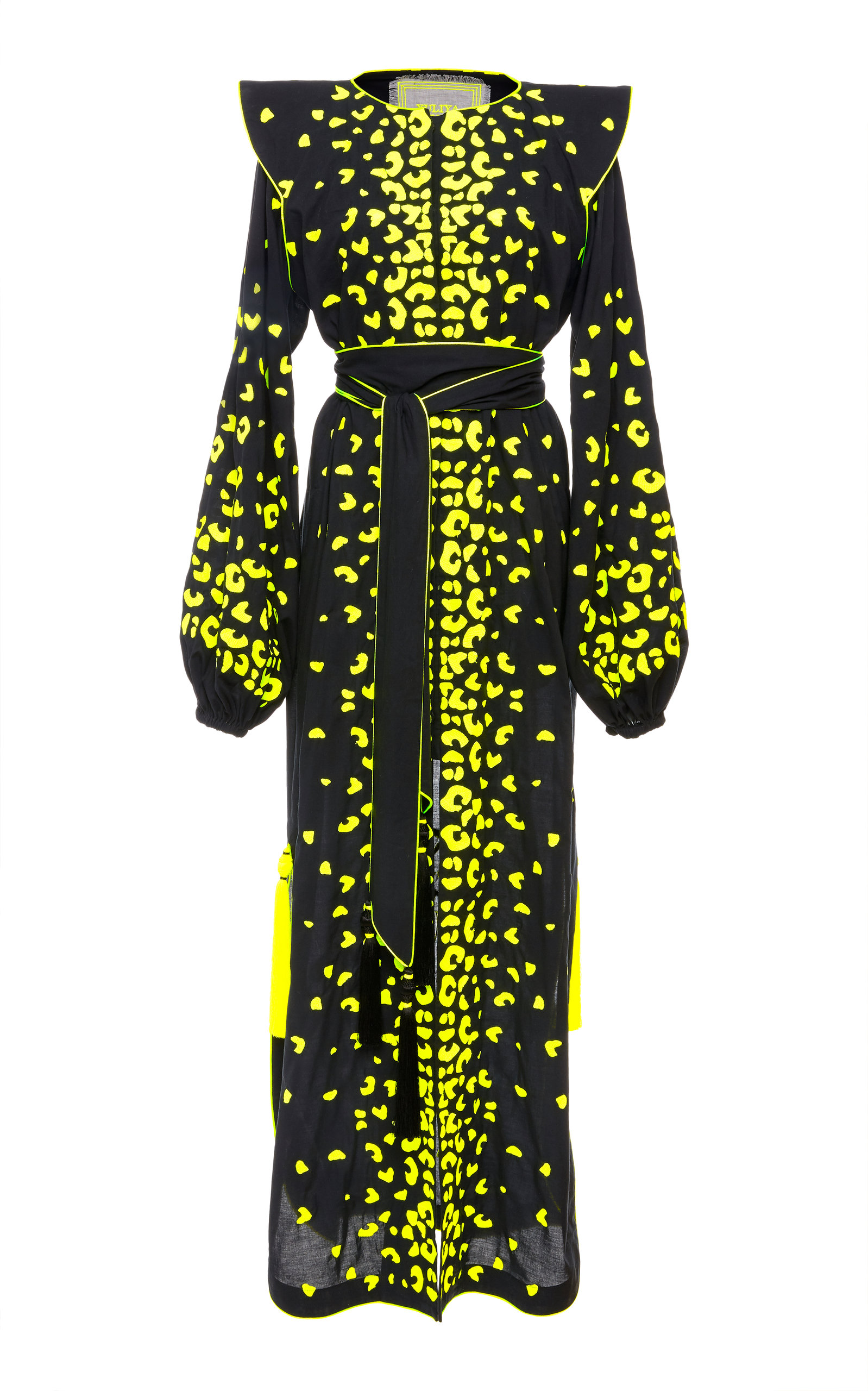 YULIYA MAGDYCH Guepard Embroidered Cotton Caftan in Print