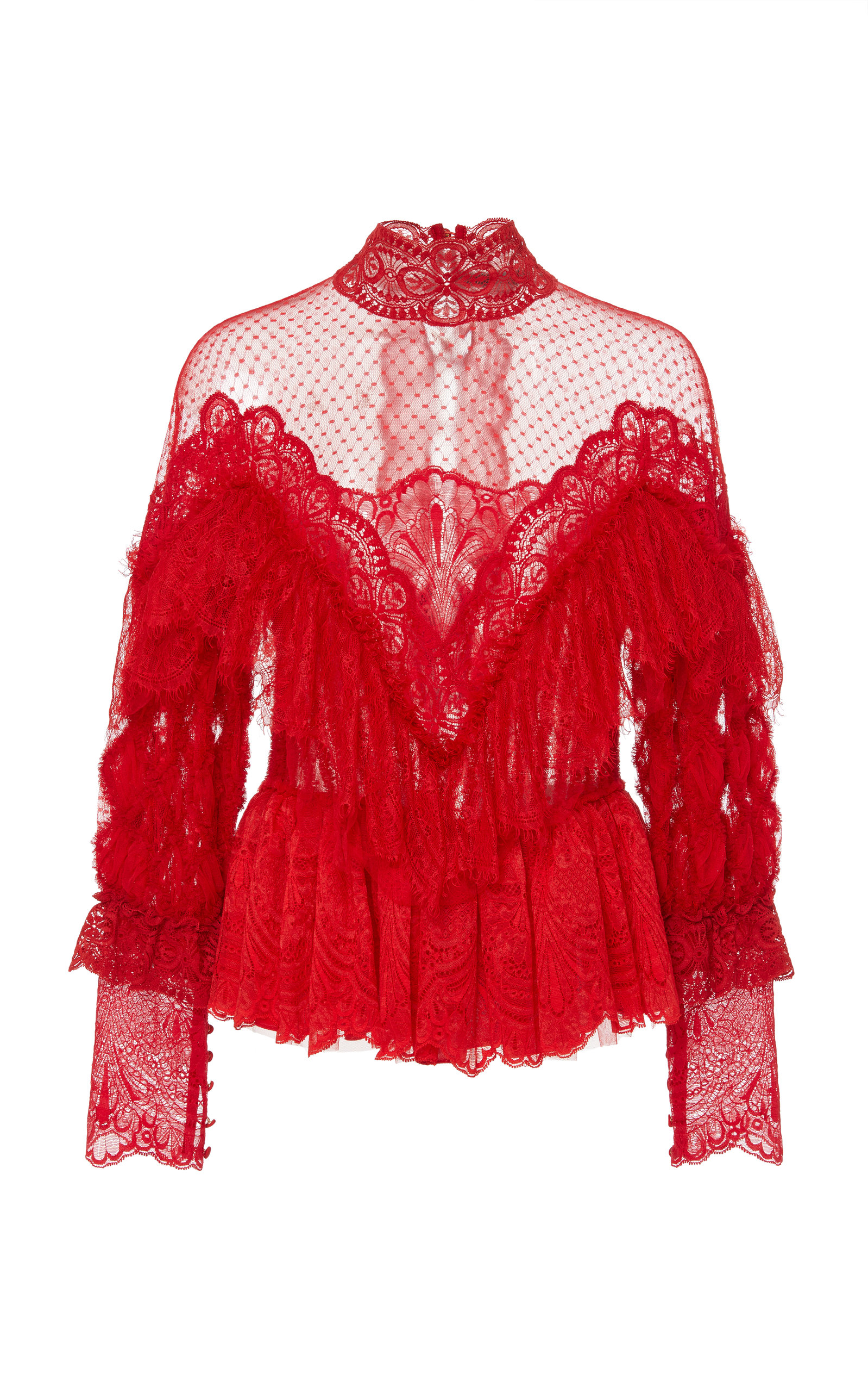 AMEN COUTURE Ruffle Lace Blouse in Red