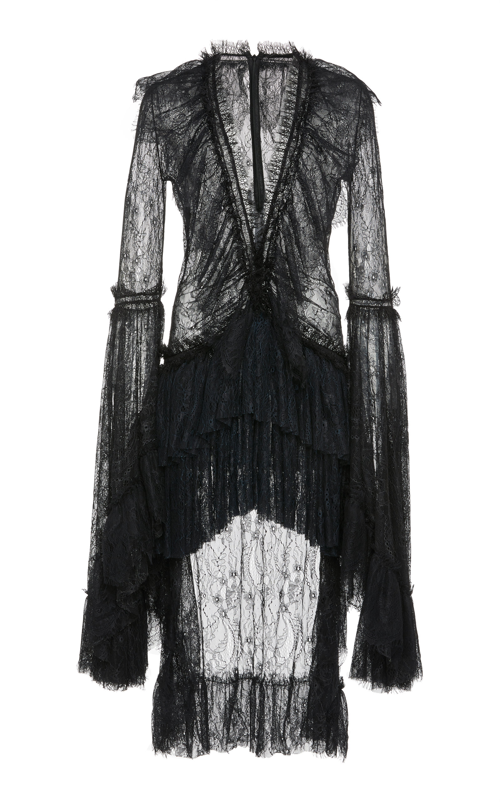 AMEN COUTURE Tiered Lace Dress in Black