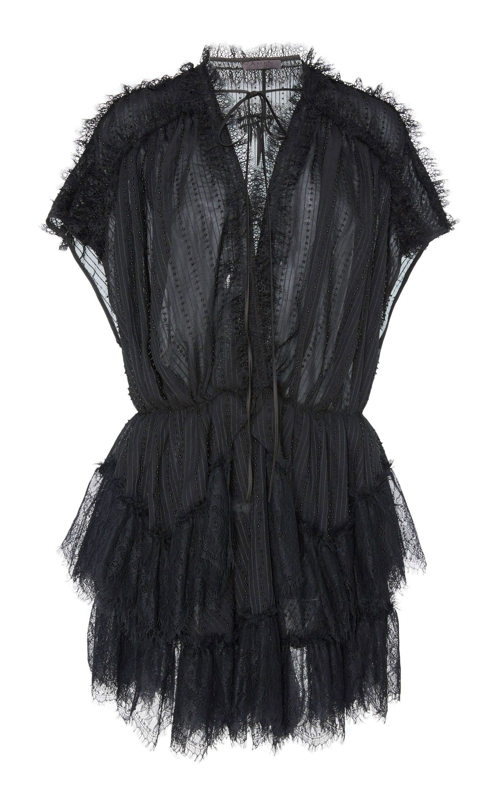 AMEN COUTURE Lace And Gerogette Dress in Black