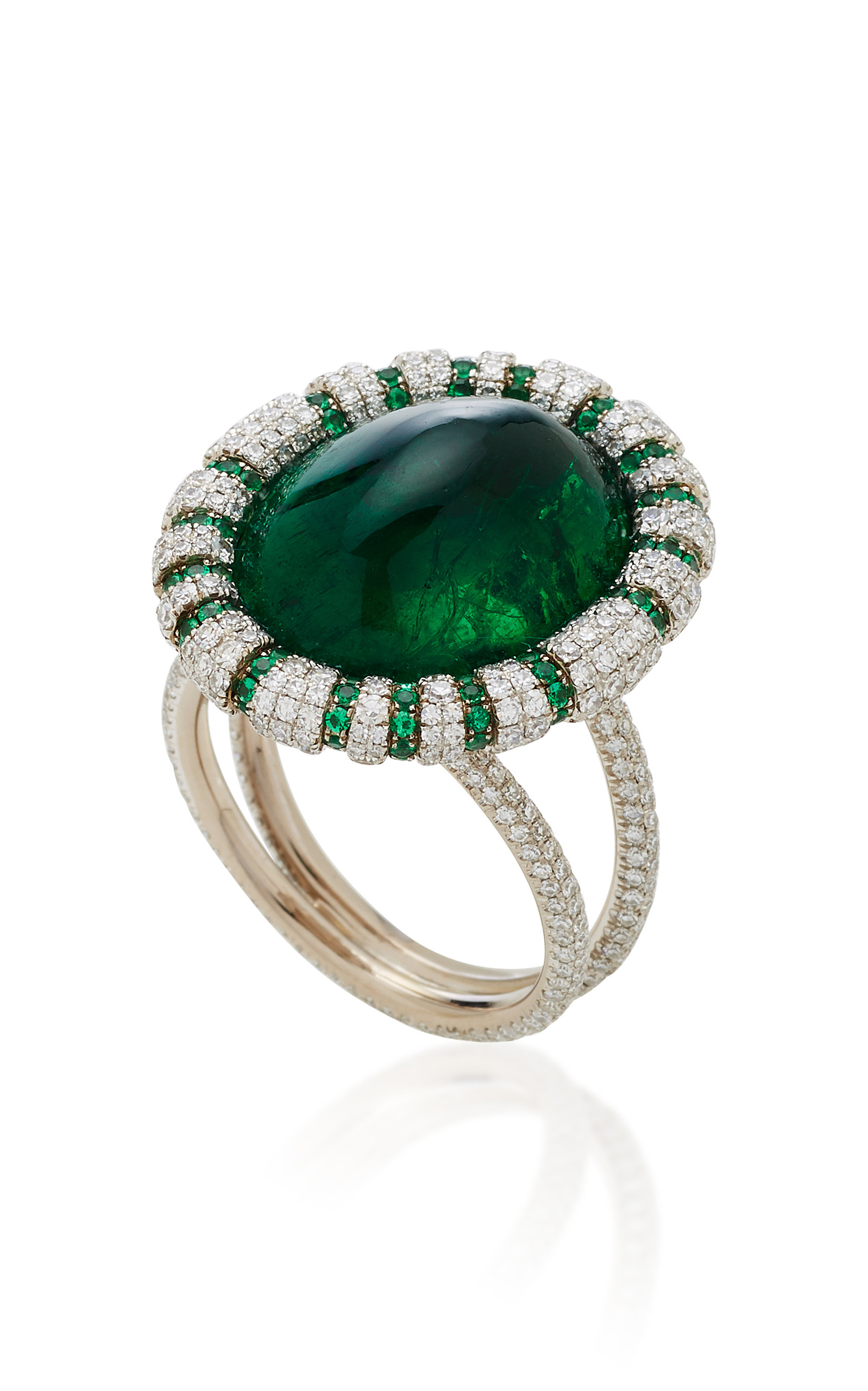 set emerald image white gold and oval in halo vintage diamond ring