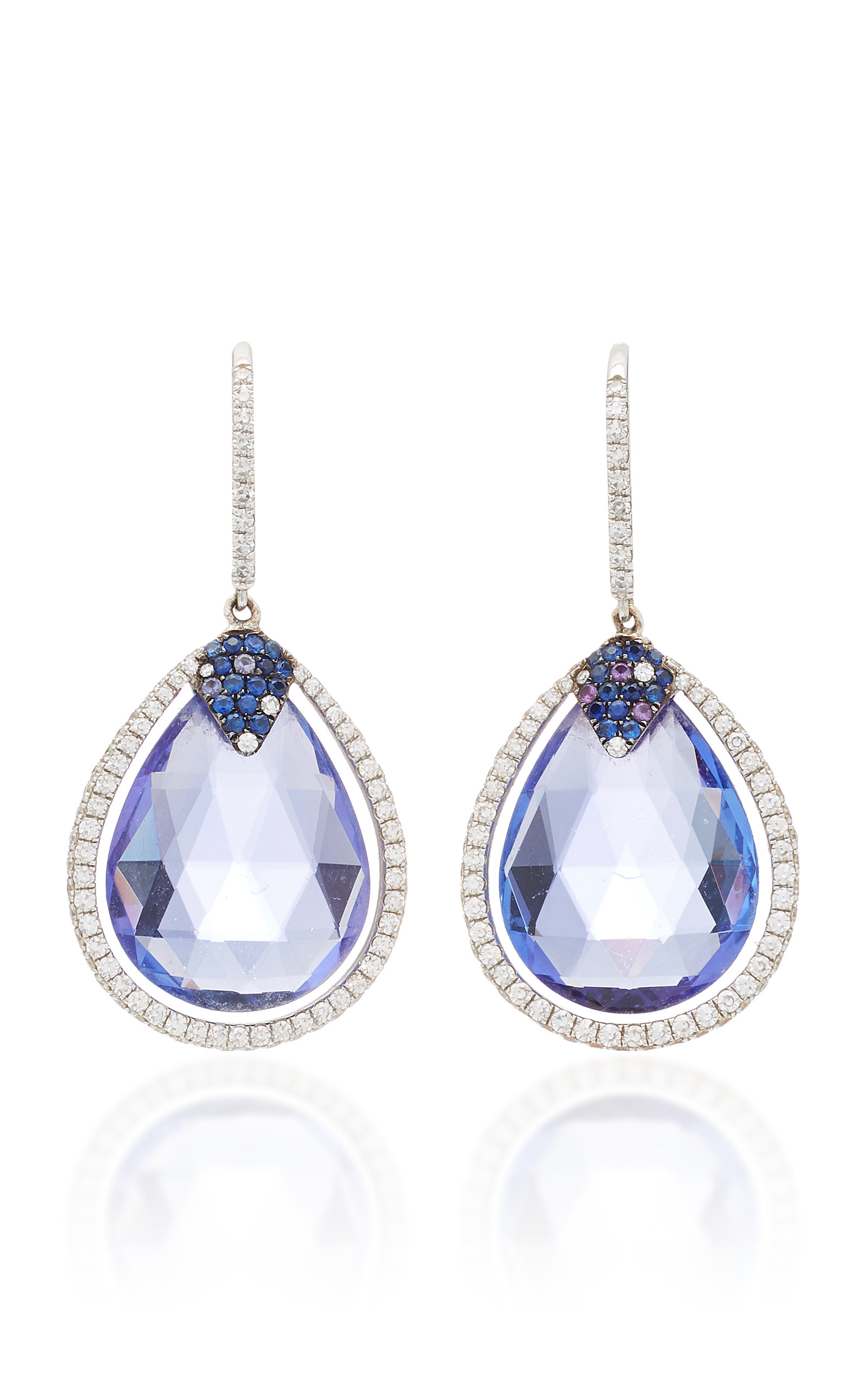 sapphire earrings blue sapphires briolette round diamonds briolettes pin with