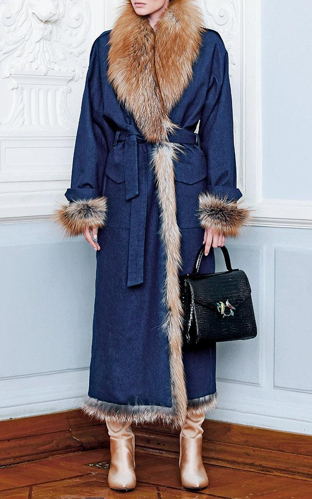 ALENA AKHMADULLINA Denim And Fur Coat in Blue