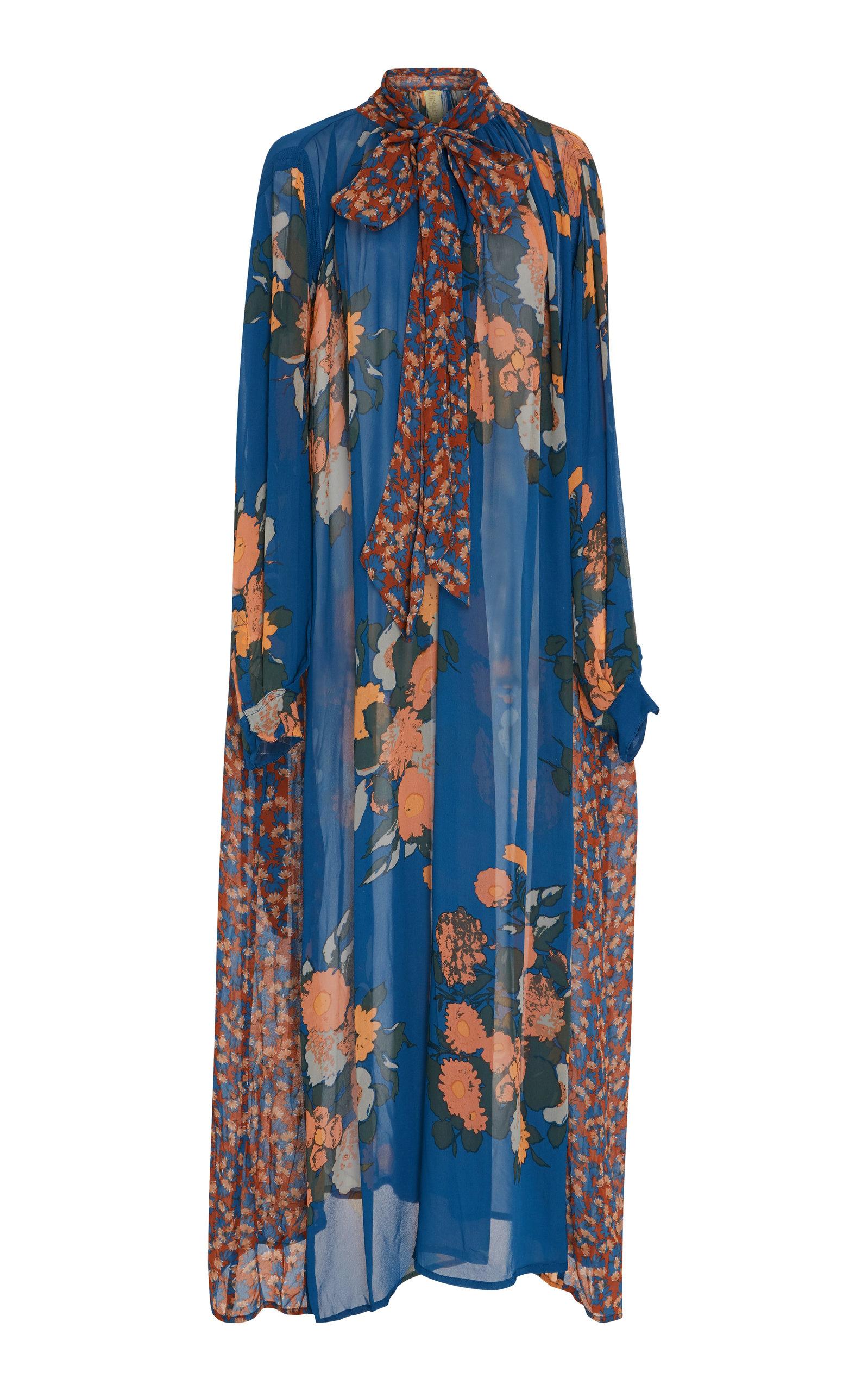 YVONNE S FLORAL-PRINT POPLIN MAXI DRESS